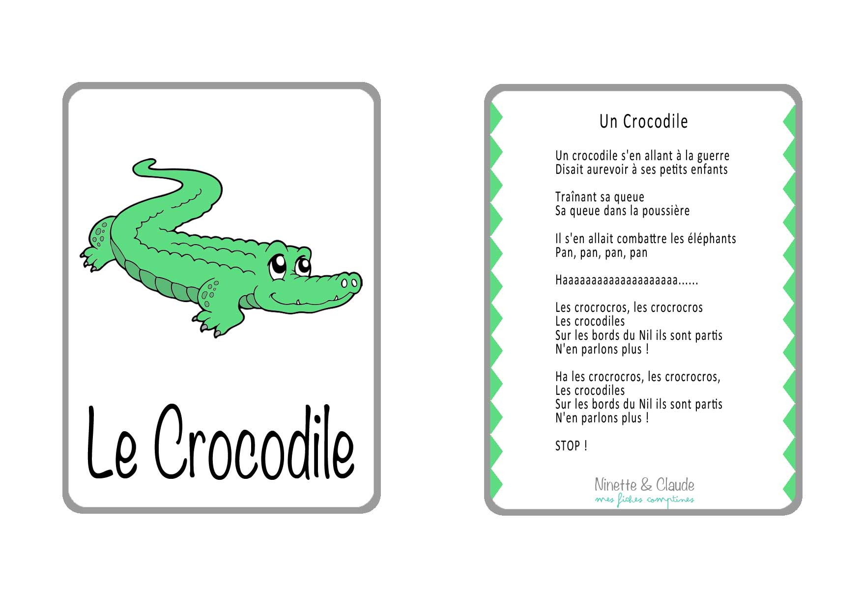 Fiche Comptine - Les Crocodiles - Ninette Et Claude serapportantà Photo De Crocodile A Imprimer