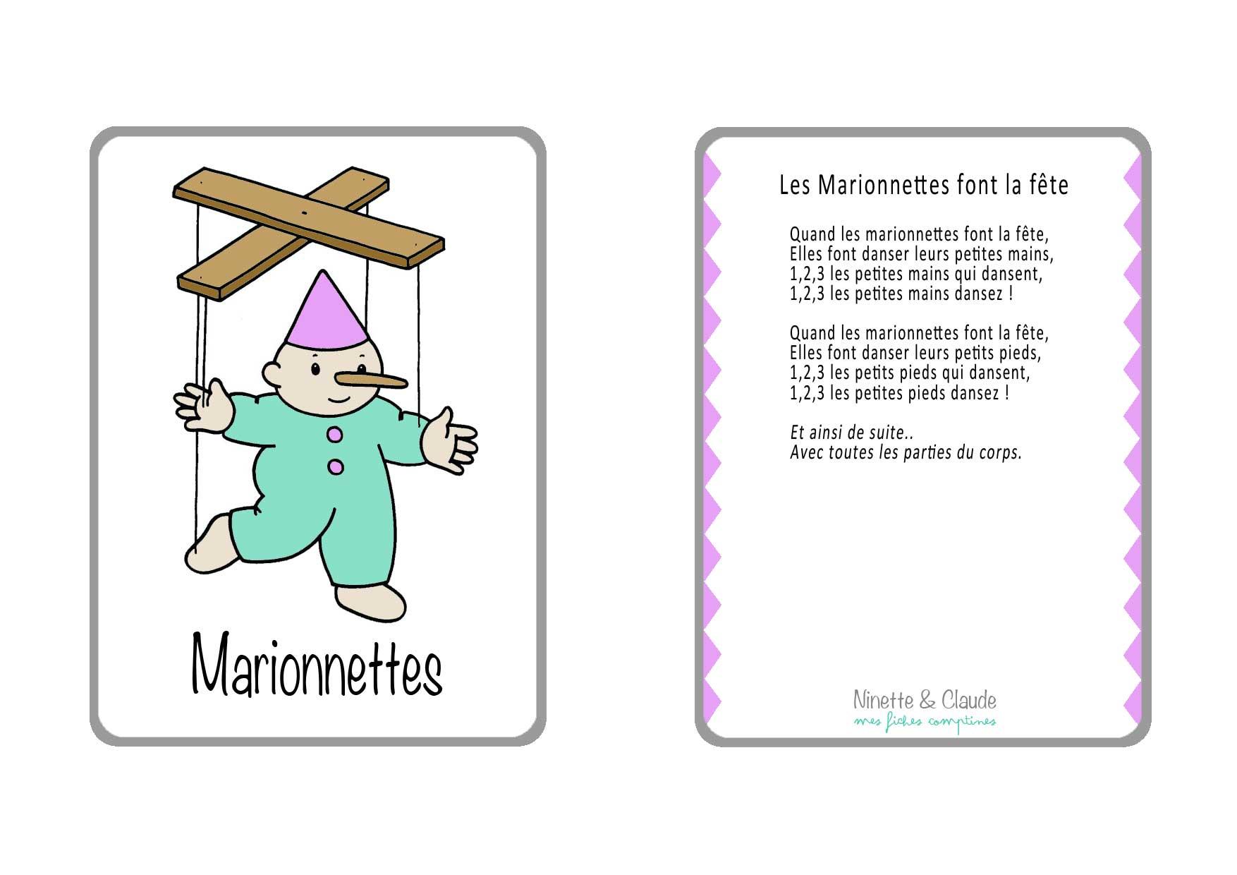 Fiche Comptine - Les Marionnettes - Ninette Et Claude à Les Petites Marionnettes Chanson