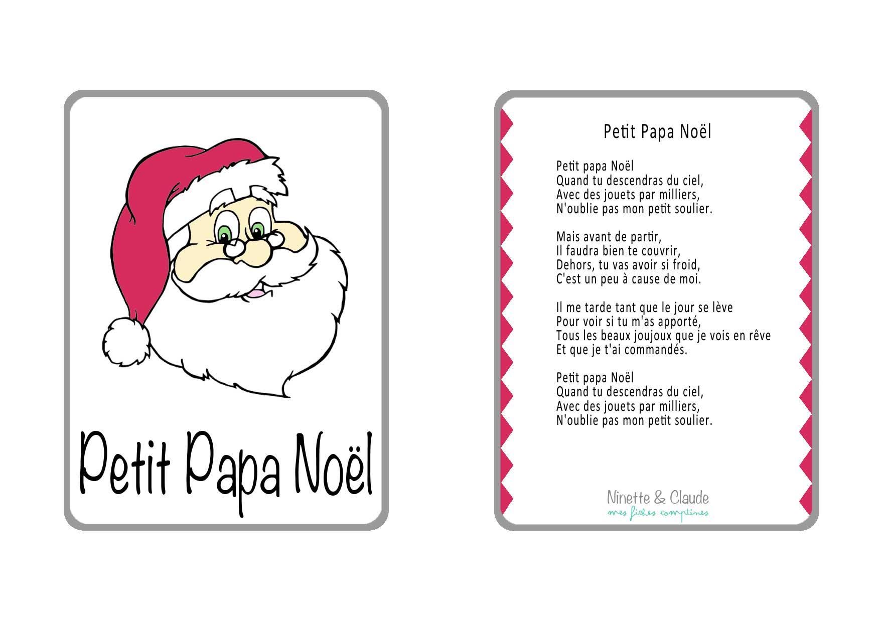 Fiche Comptine - Petit Papa Noël - Ninette Et Claude à Petit Papa Noel Video