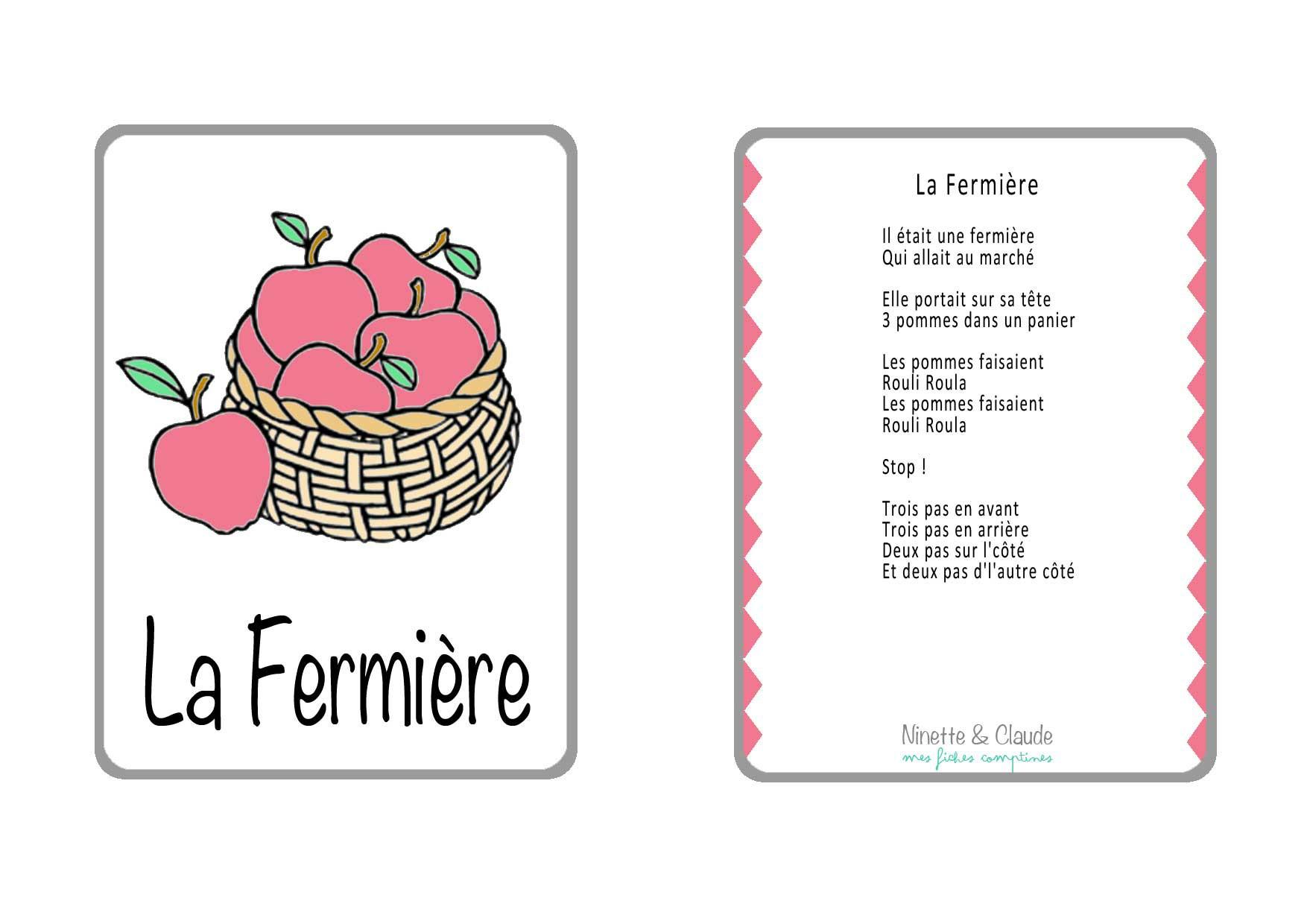 Fiches Comptines (5) - Assistante Maternelle Argenteuil pour Chanson Sur Les Fruits Et Légumes
