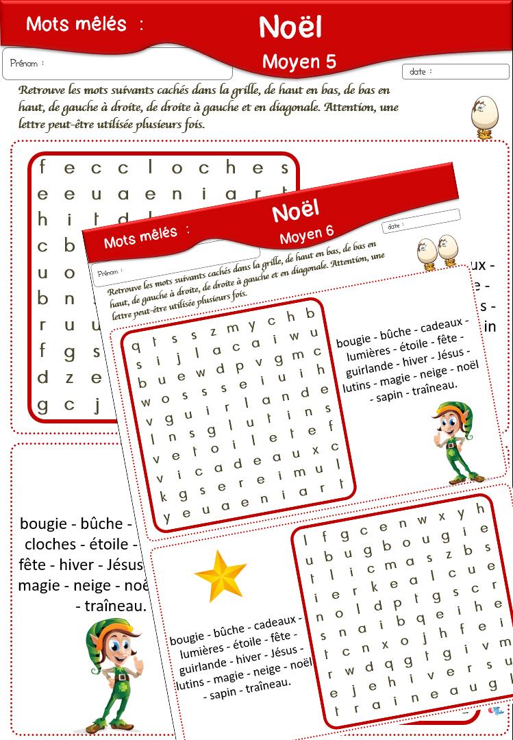 Fiches De Vocabulaire pour Mots Croisés Noel