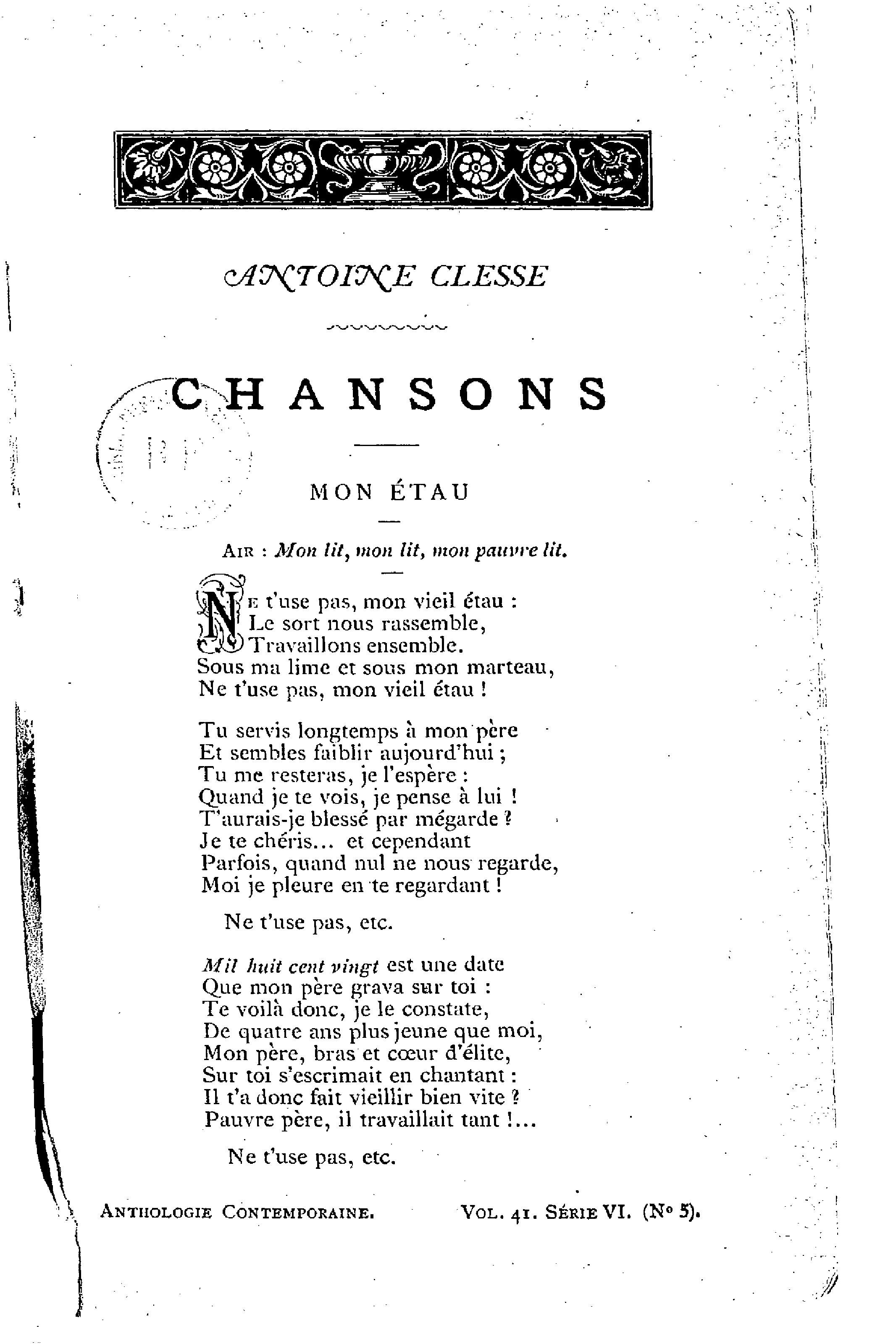 File:clesse - Chansons, 1888.djvu - Wikimedia Commons destiné Chanson Pense À Moi