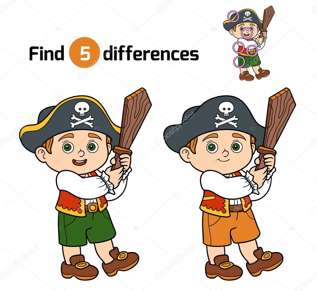 Find Differences, Game For Children (Pirate Boy) — Stock avec Les 5 Differences