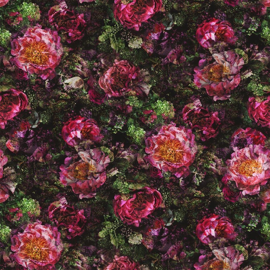Fleur De Nuit - Rose/fuchsia Fabric | Le Poème De Fleurs | Designers Guild avec Poeme Les Fleurs