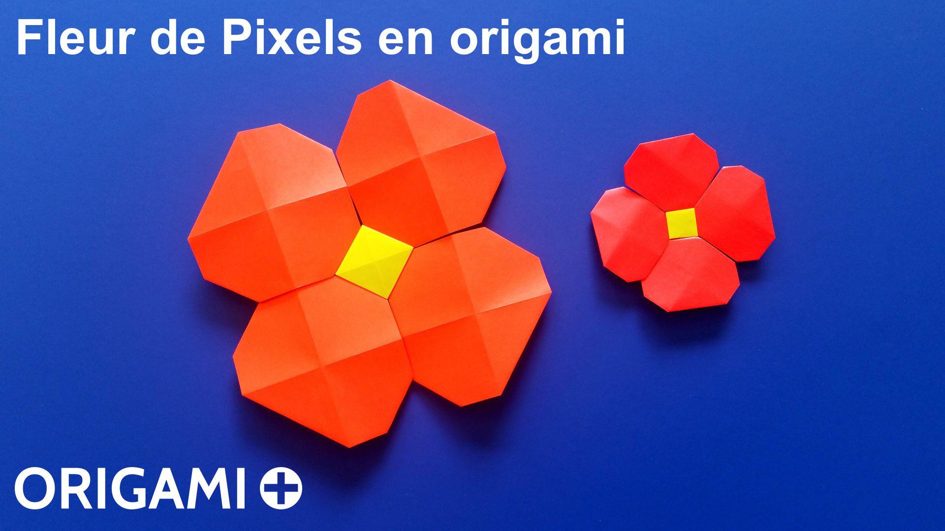 Fleur De Pixels En Origami encequiconcerne Origami Rose Facile A Faire