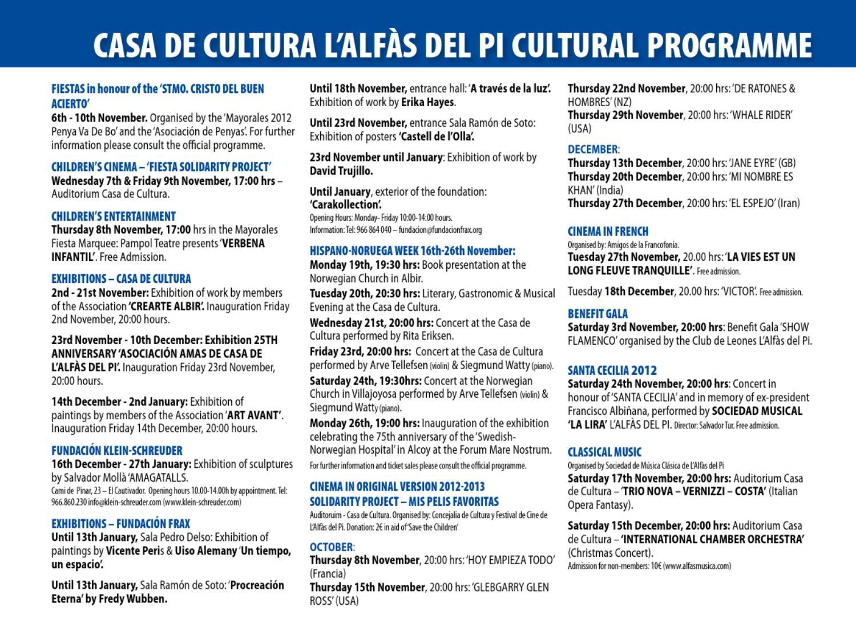 Folleto Cultura L'alfàs Del Pí. By Ayto. L'alfàs Del Pi - Issuu intérieur Bo Programmes 2012