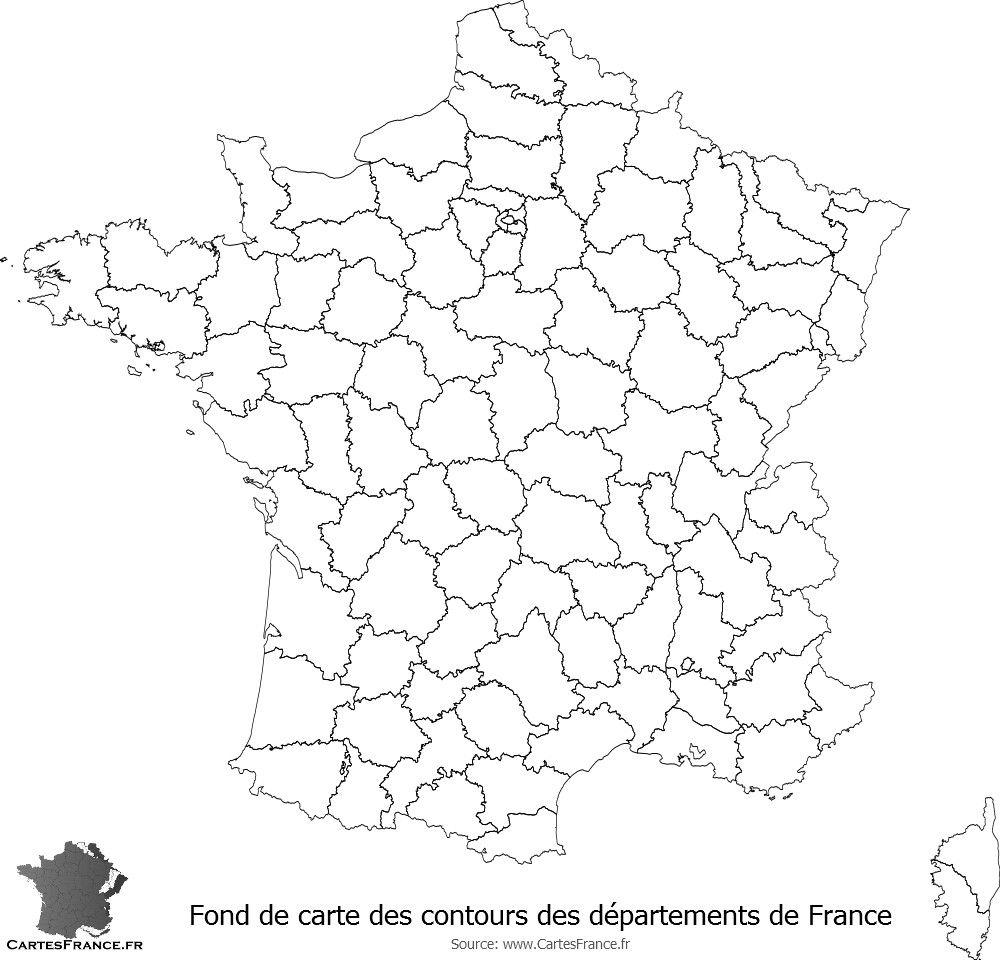 Fond De Carte Des Contours Des Départements De France (Avec tout Carte De France Avec Département À Imprimer