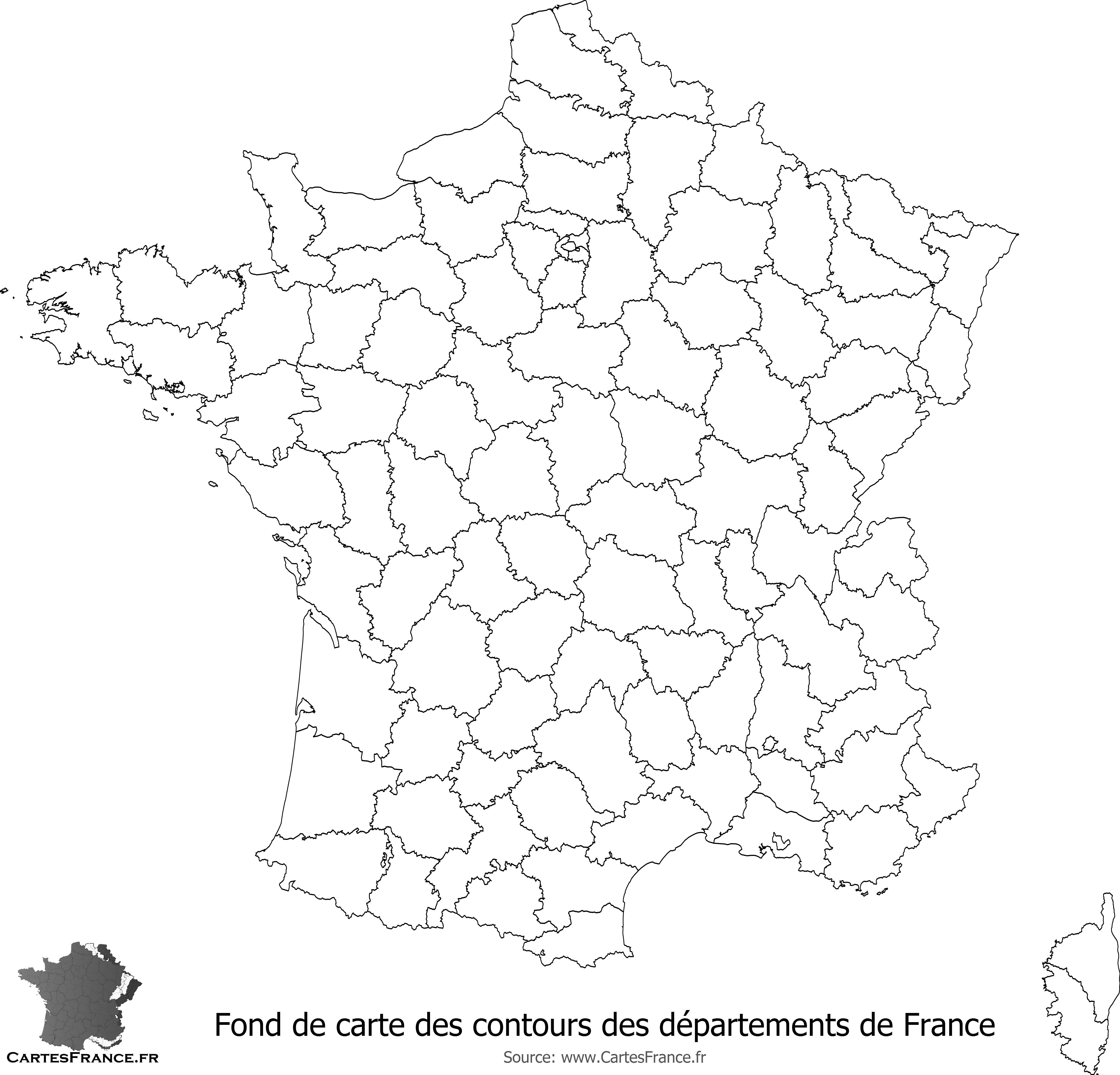 Fond De Carte Des Contours Des Départements De France encequiconcerne Carte Des Régions Vierge