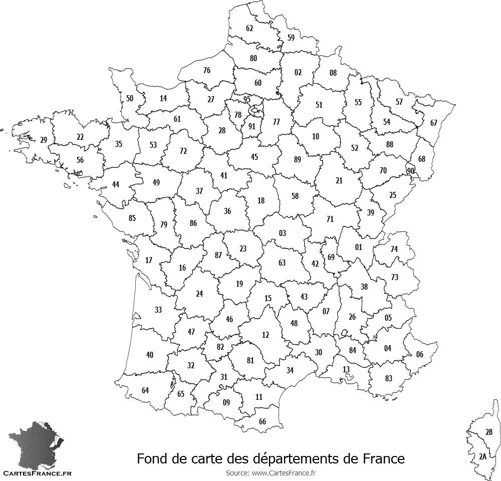 Fond De Carte Des Départements De France concernant Carte Des Régions Vierge