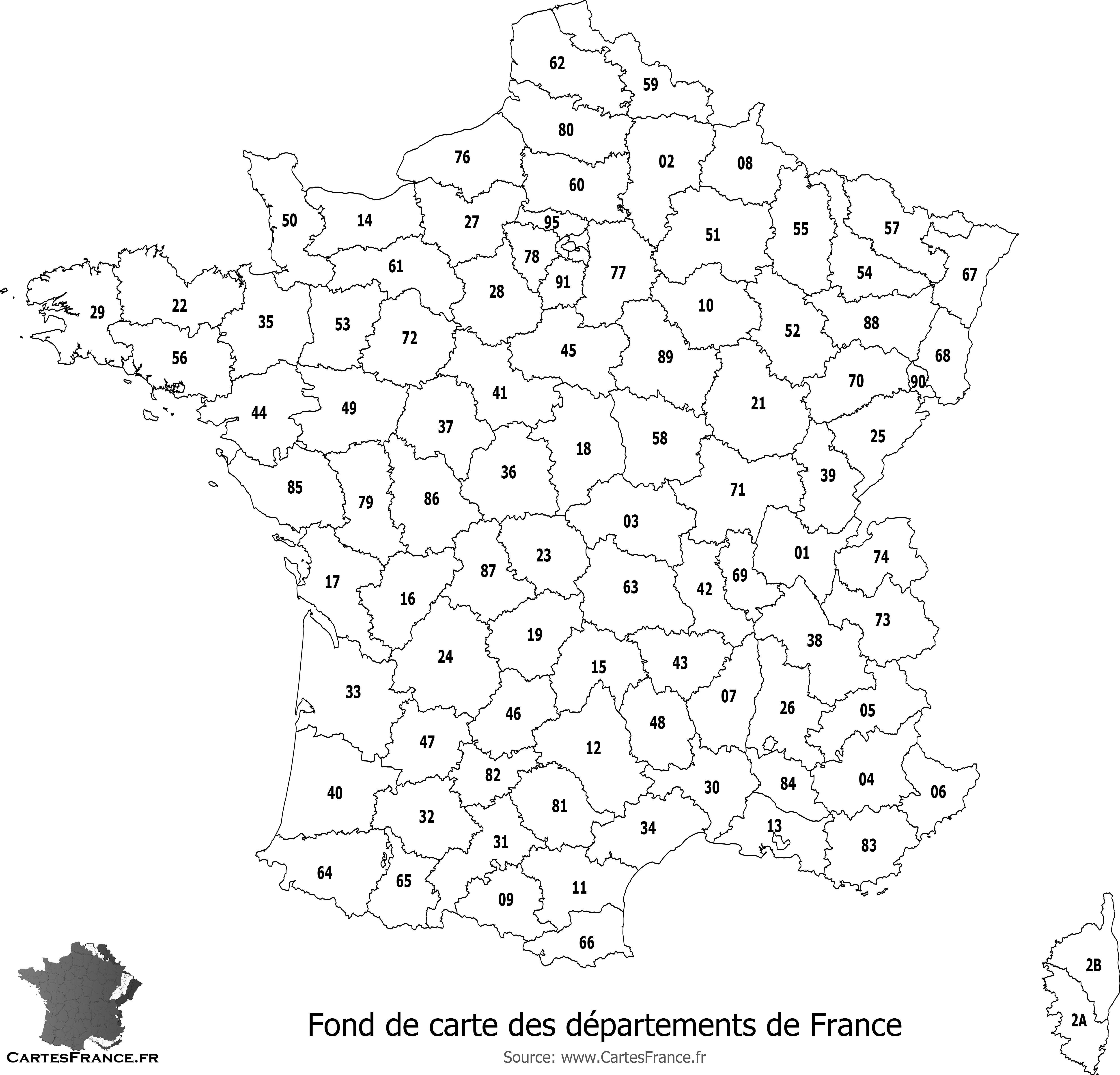 Fond De Carte Des Départements De France concernant Carte Numero Departement