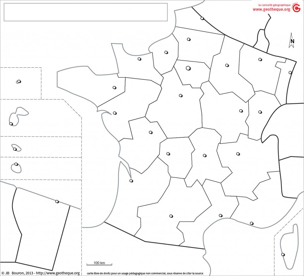 Fond De Carte France Avec Drom, Régions, Chefs-Lieux | Fond pour Carte Des Régions Vierge