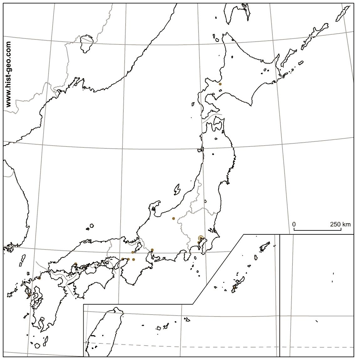Fond De Carte Vierge Du Japon (Îles Ryûkyû Et Ogasawara intérieur Carte Des Régions Vierge