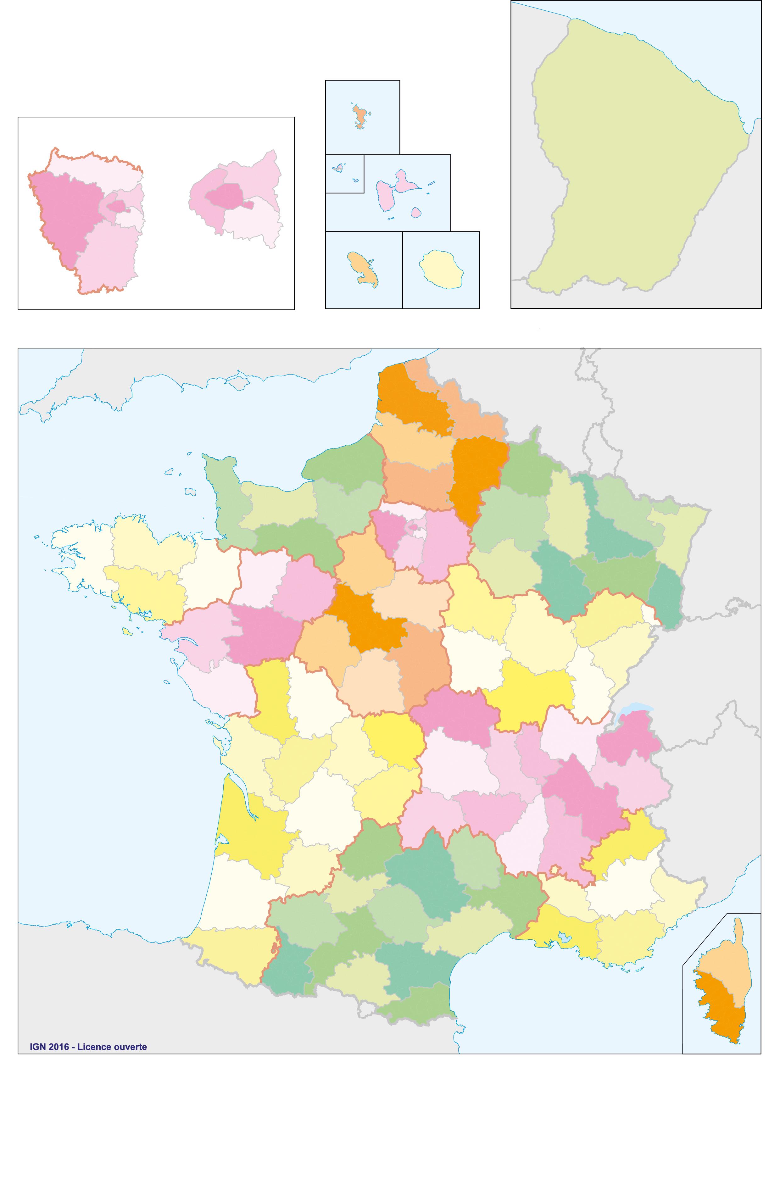 Fonds De Cartes De France, Ign | Webzine+ encequiconcerne Carte Des Régions Vierge