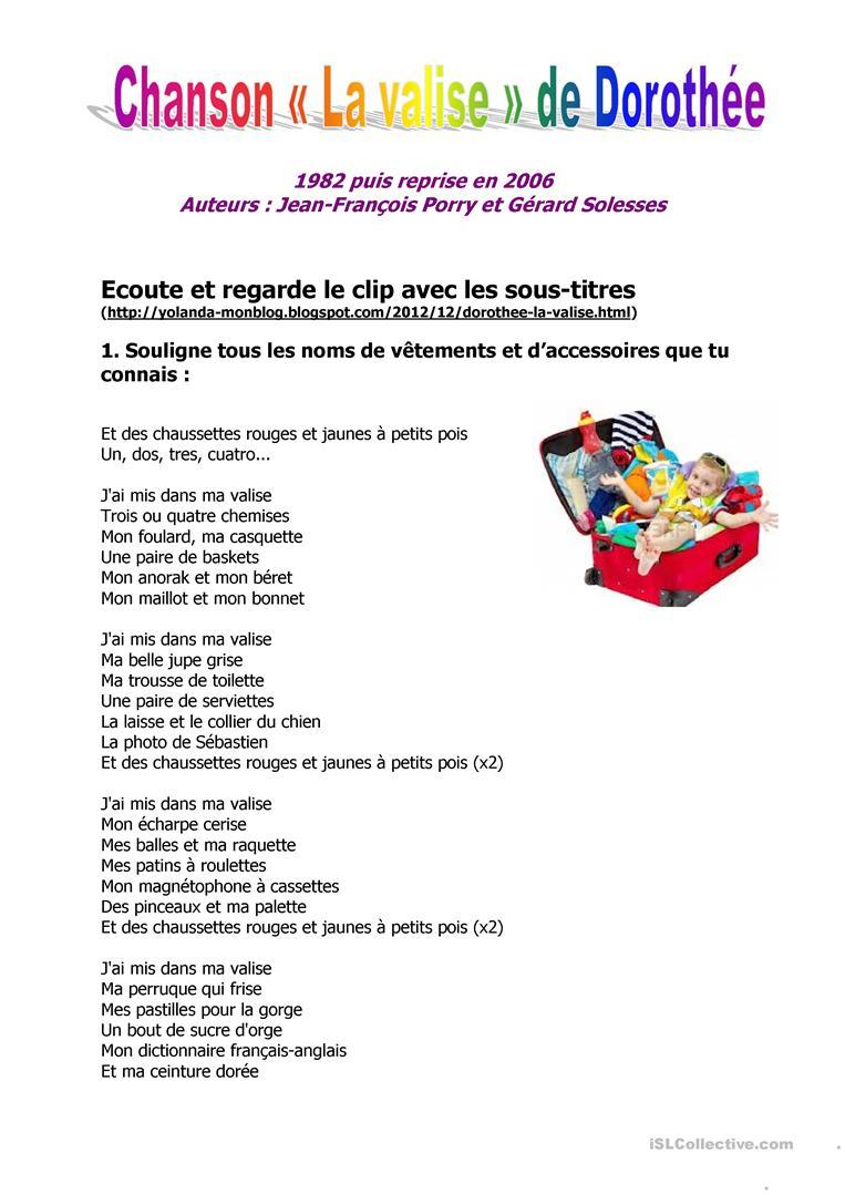 Français Fle Chansons Fiches Pédagogiques - La Plus concernant Chanson Des Chiffres En Français