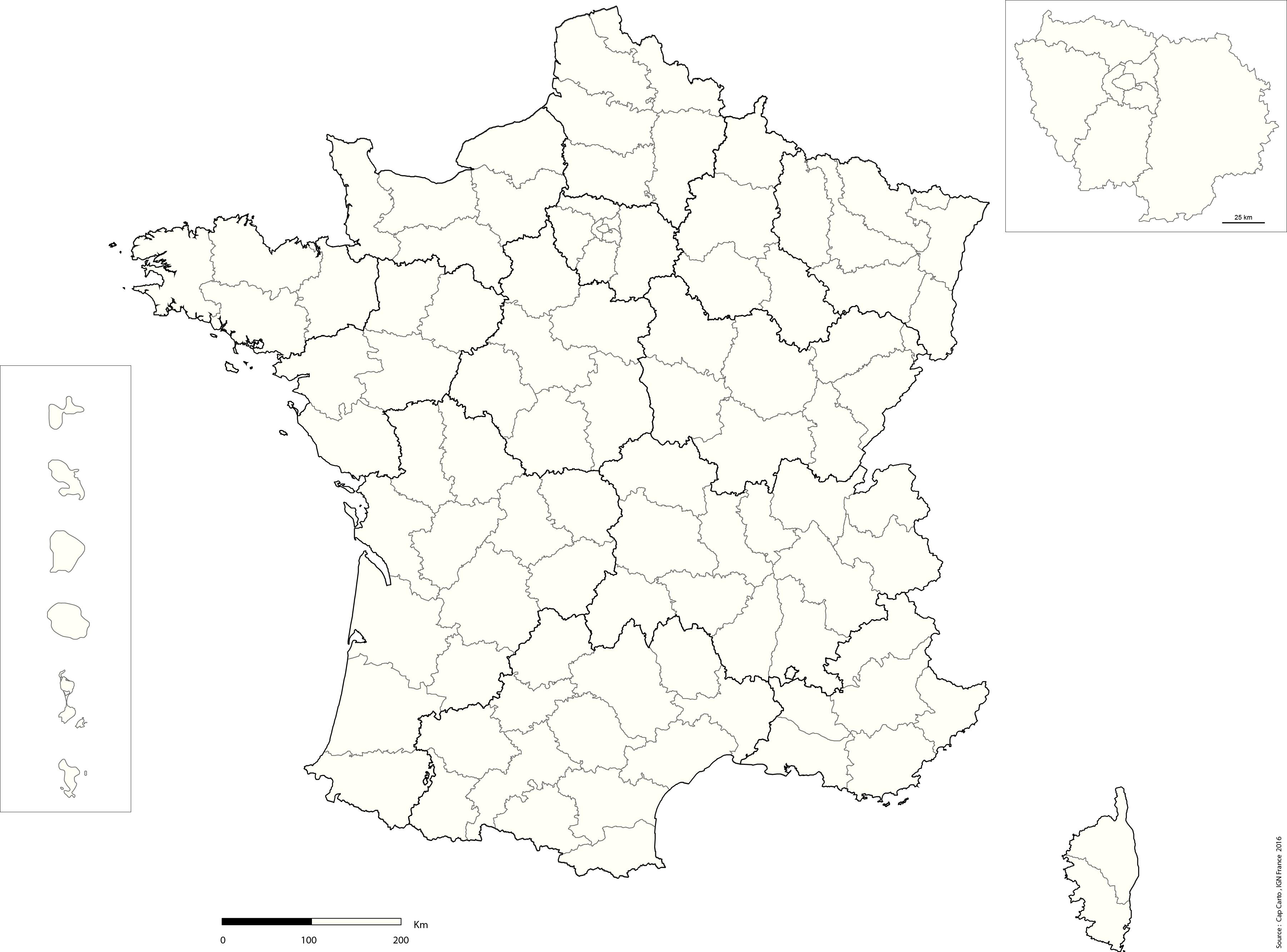 France-Departement-Echelle-Reg-Vierge - Cap Carto encequiconcerne Carte Des Régions Vierge