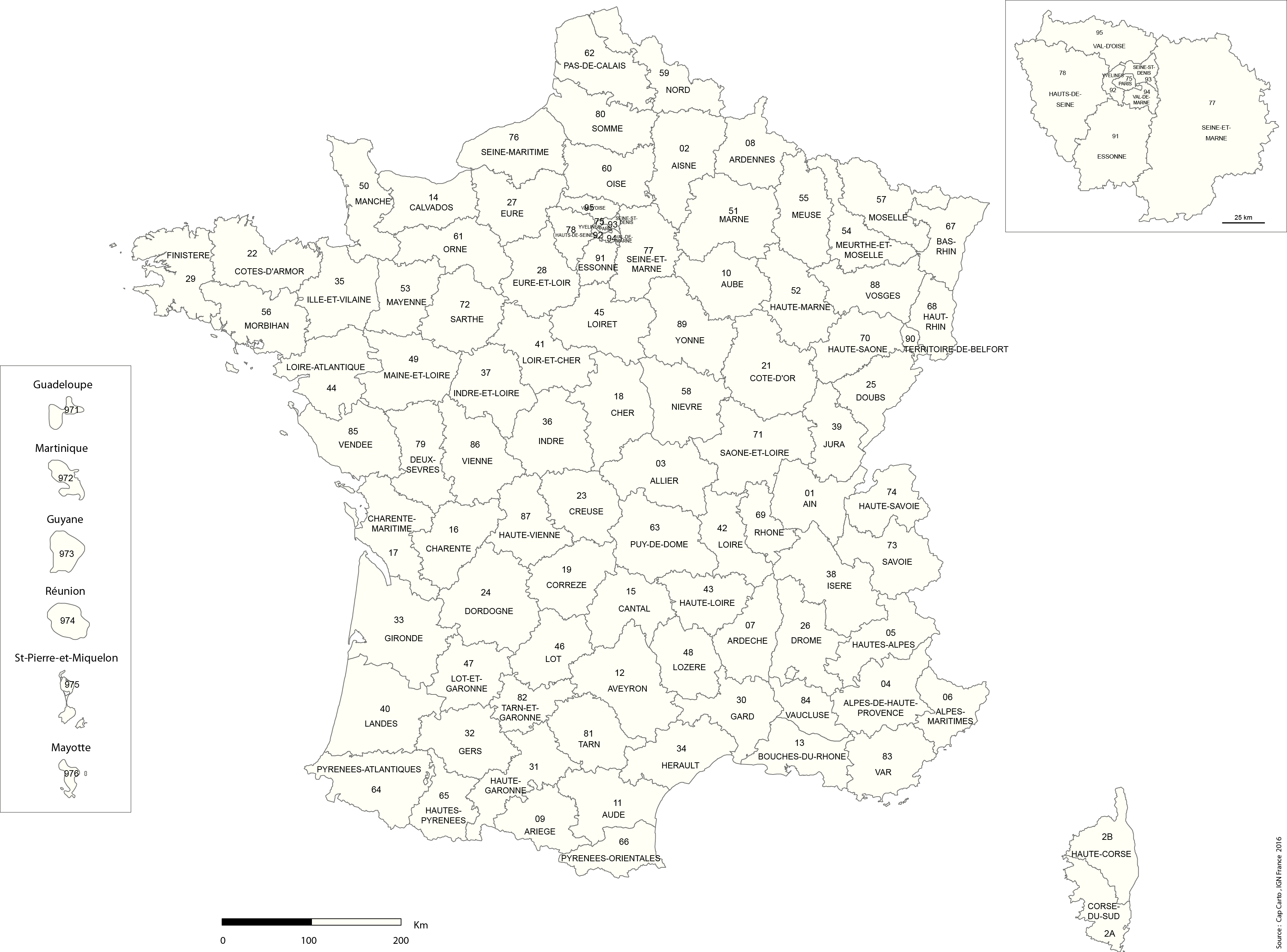 France-Departement-Numero-Noms-Reg-Echelle-Vierge - Cap Carto encequiconcerne Carte Numero Departement