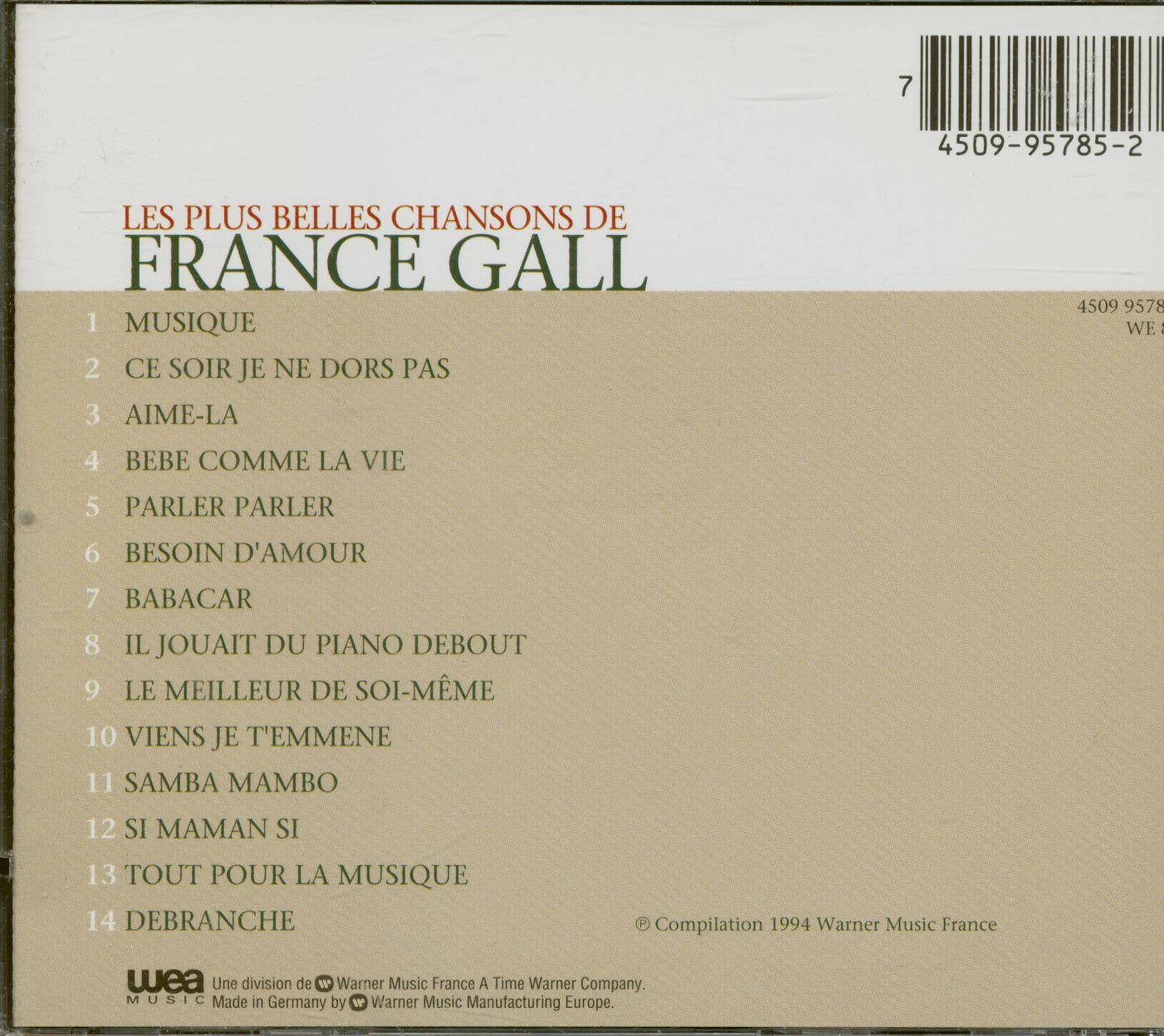 France Gall Cd: Les Plus Belles Chansons (Cd) - Bear Family destiné Chanson Pour Bebe 1 An
