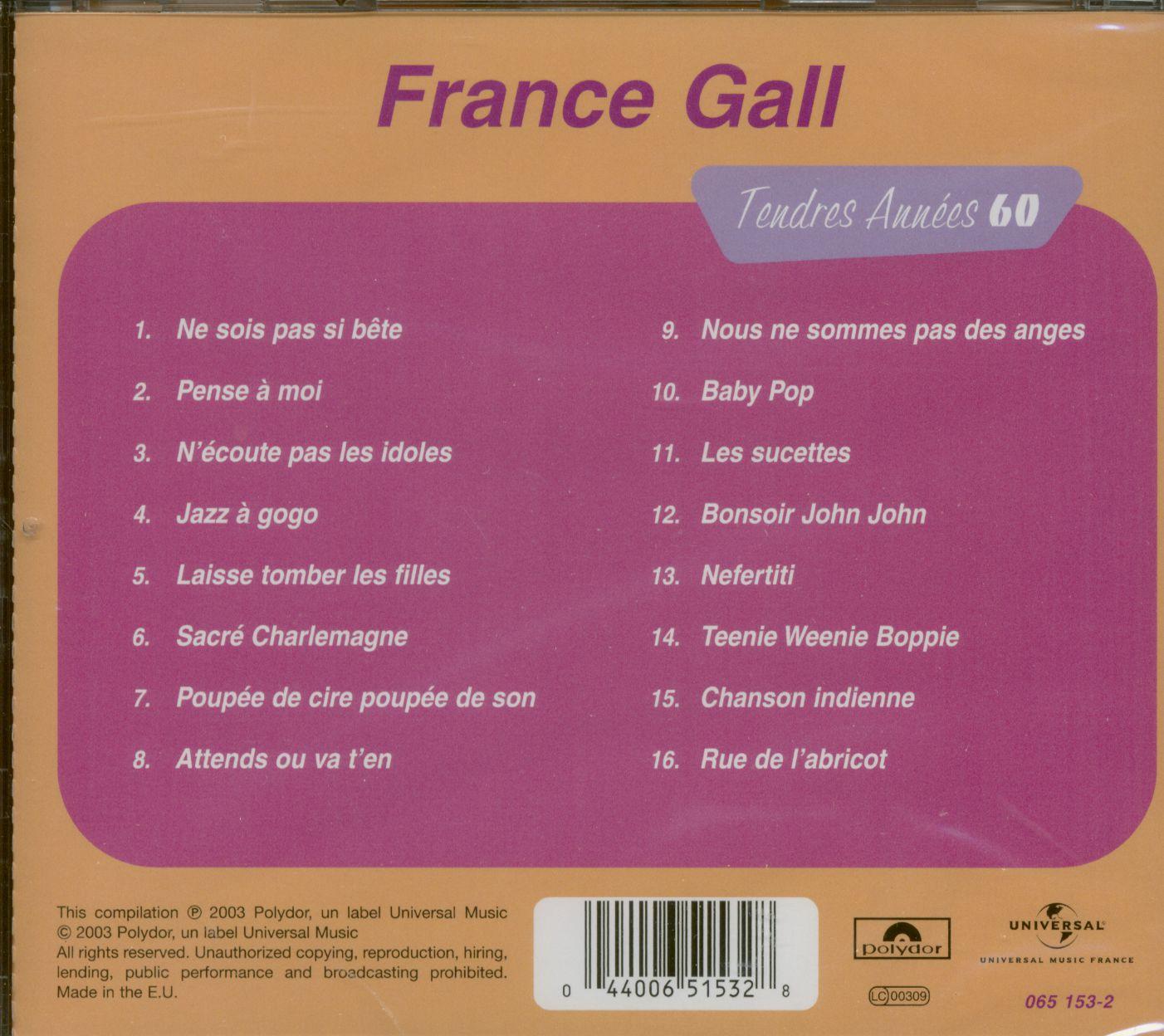 France Gall Cd: Tendres Annees 60 (Cd) - Bear Family Records intérieur Chanson Pense À Moi