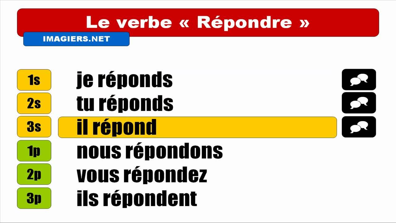 Französisch Lernen = Verbe = Répondre = Indicatif Présent avec Dormir Au Présent De L Indicatif