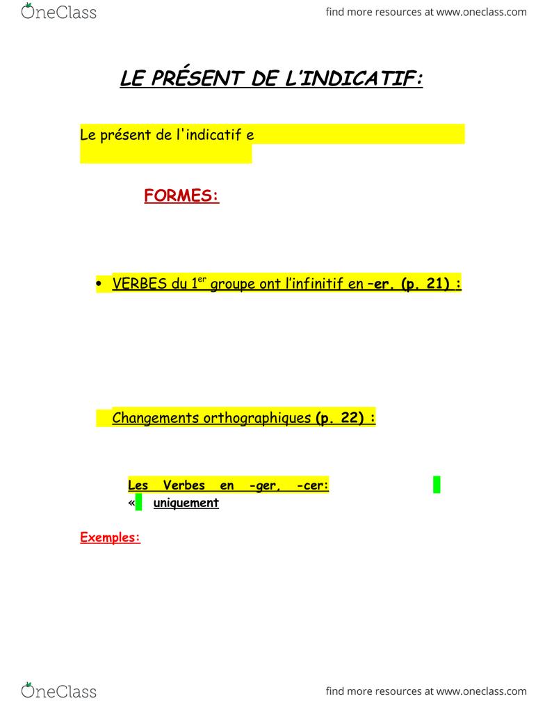 French 1910 Lecture 1: Le Présent De L'indicatif - Oneclass concernant Dormir Au Présent De L Indicatif