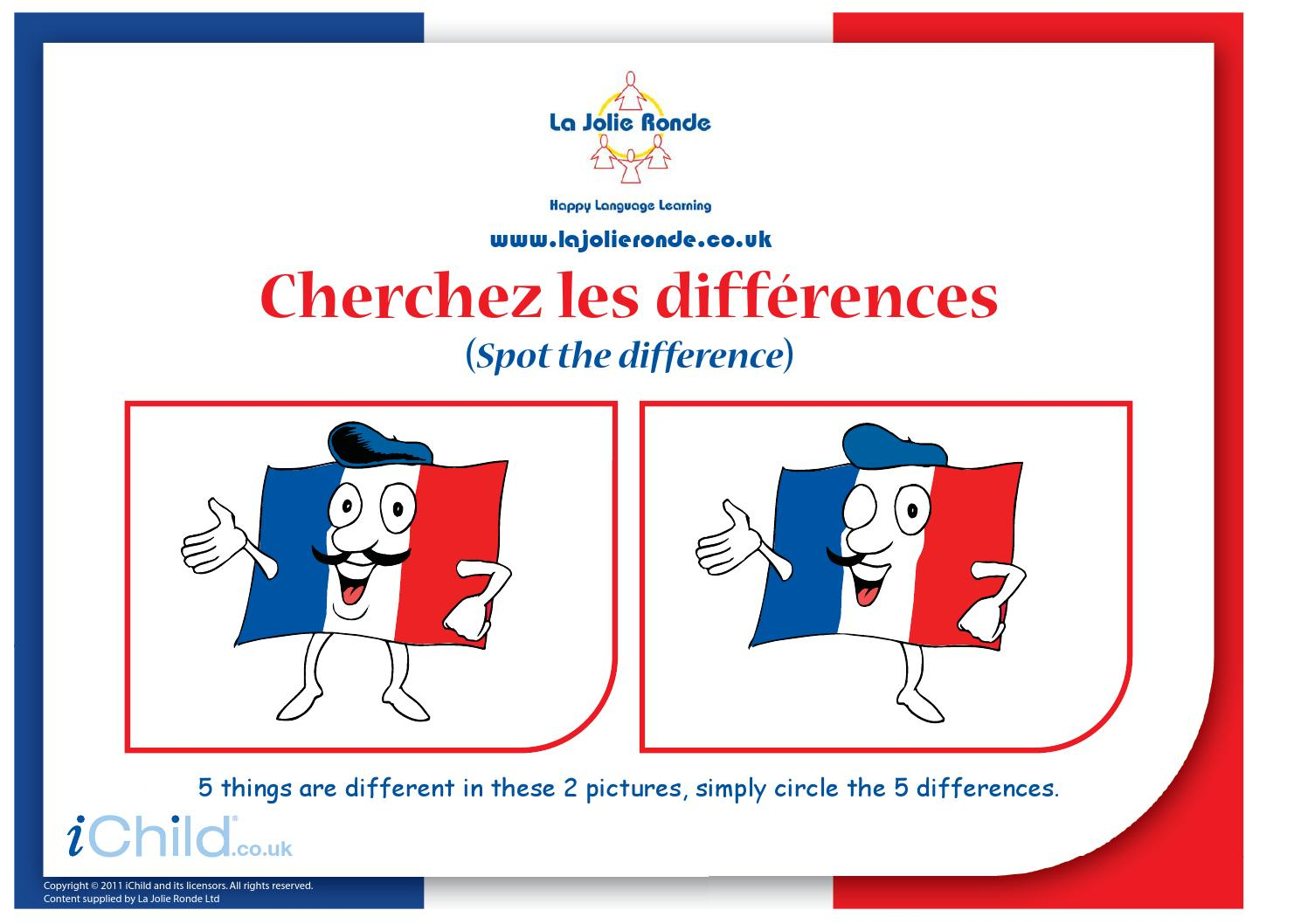 French Flag Spot The Difference(French Spot The Dif) By Tom pour Les 5 Differences