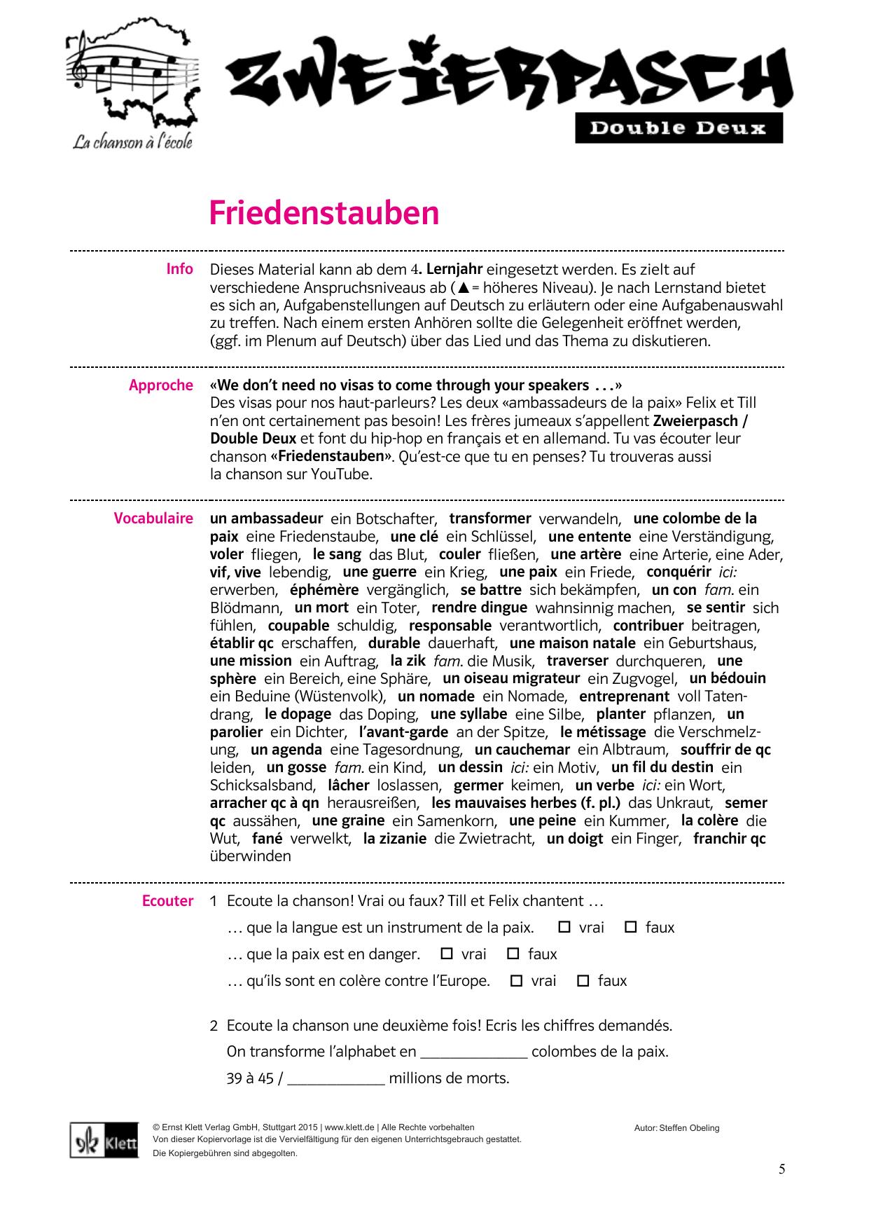 Friedenstauben / Colombes De La Paix - Klett Verlag pour Chanson Des Chiffres En Français