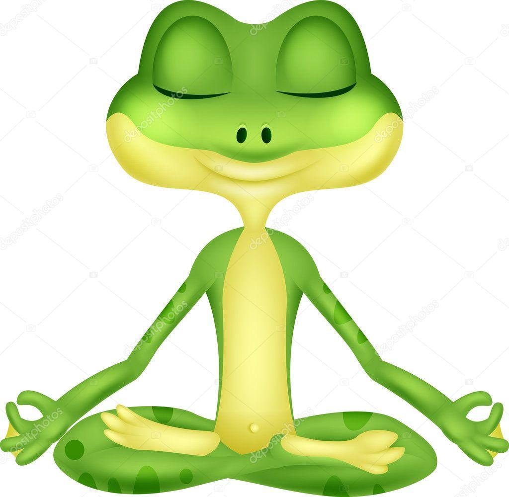 Frog Cartoon Doing Yoga — Stock Vector © Tigatelu #42368171 à La Grenouille Meditation