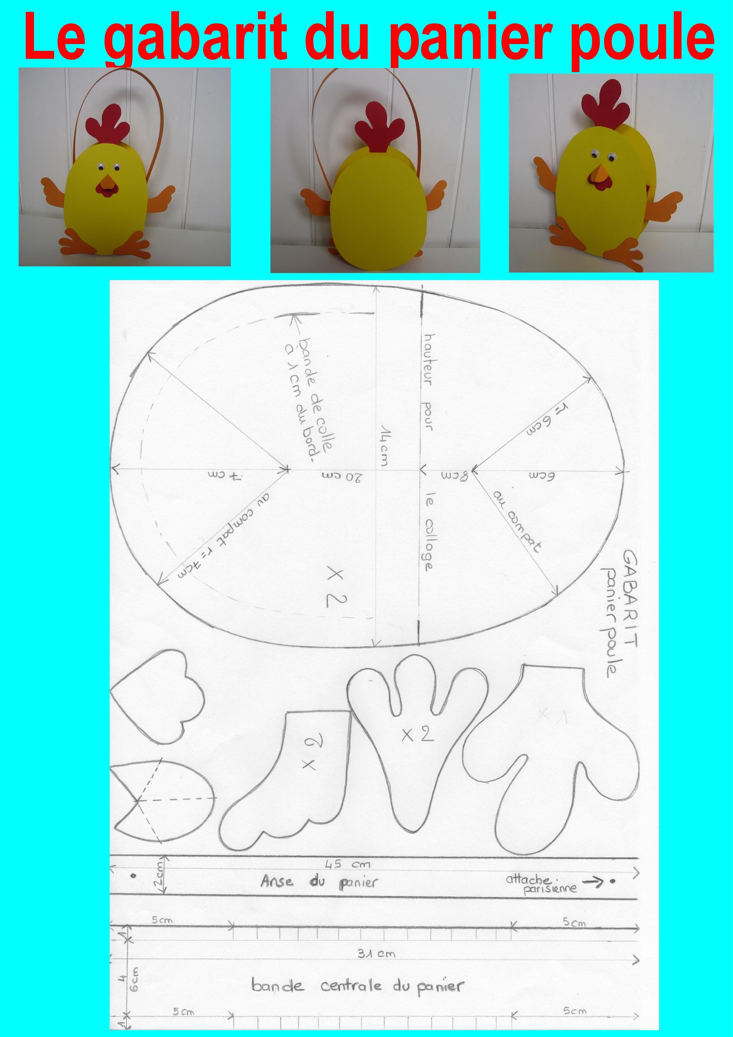 Gabarit Du Panier Poule Pour Pâques | Panier De Pâques à Bricolage Pour Paques Maternelle