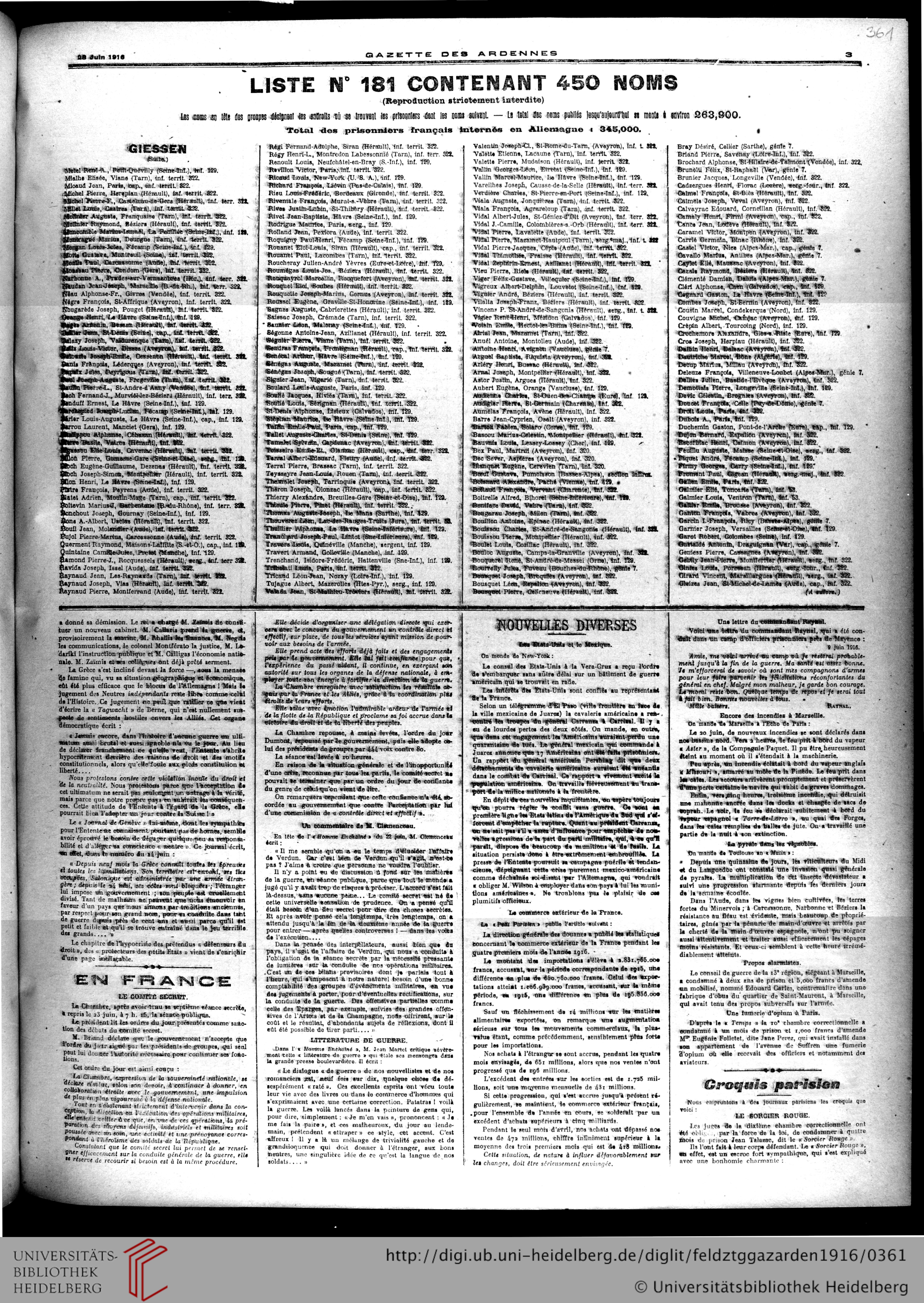 Gazette Des Ardennes: Journal Des Pays Occupés (Januar 1916 à Chiffres Espagnol 1 À 1000