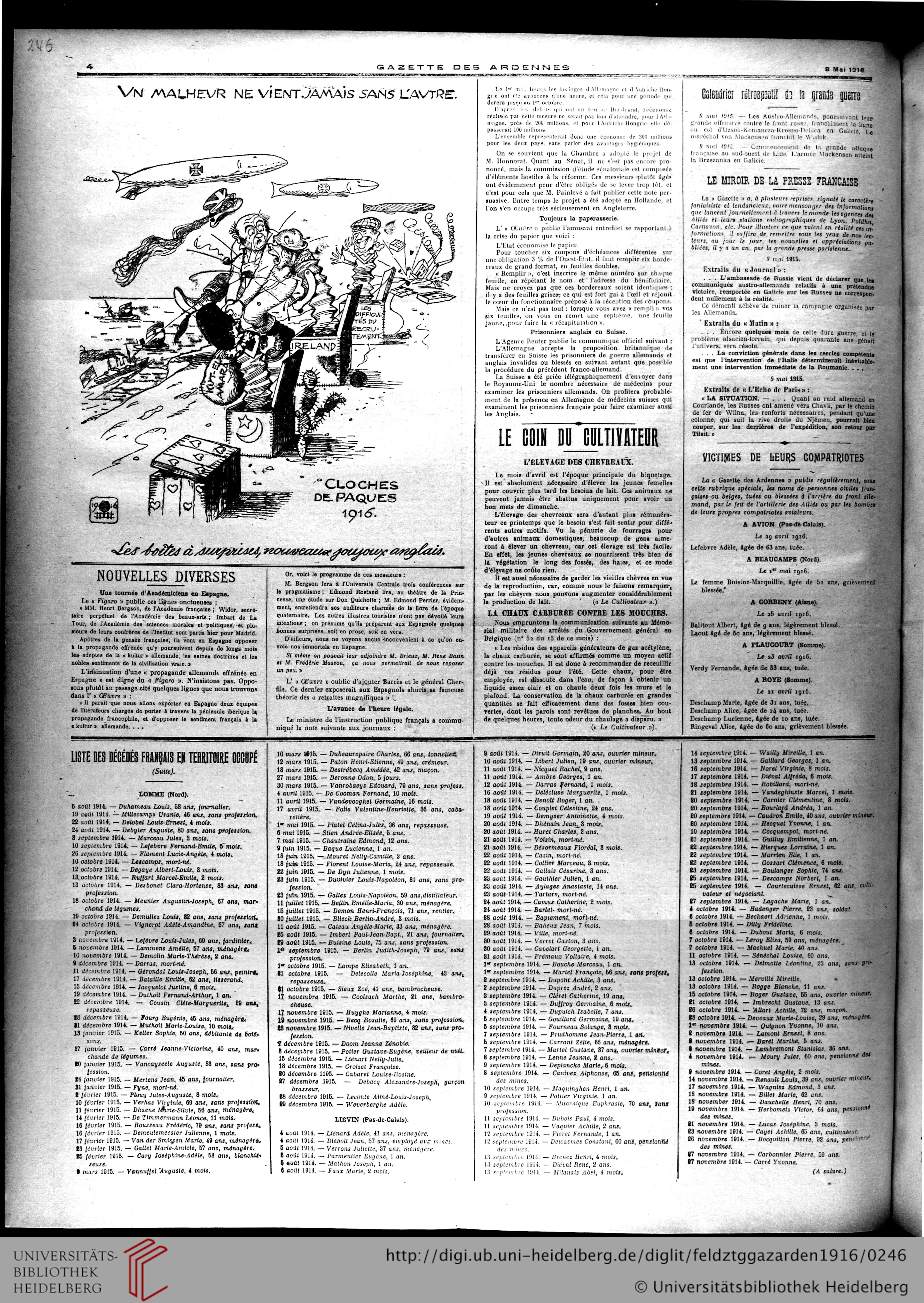 Gazette Des Ardennes: Journal Des Pays Occupés (Januar 1916 avec Nombre En Espagnol De 1 A 1000
