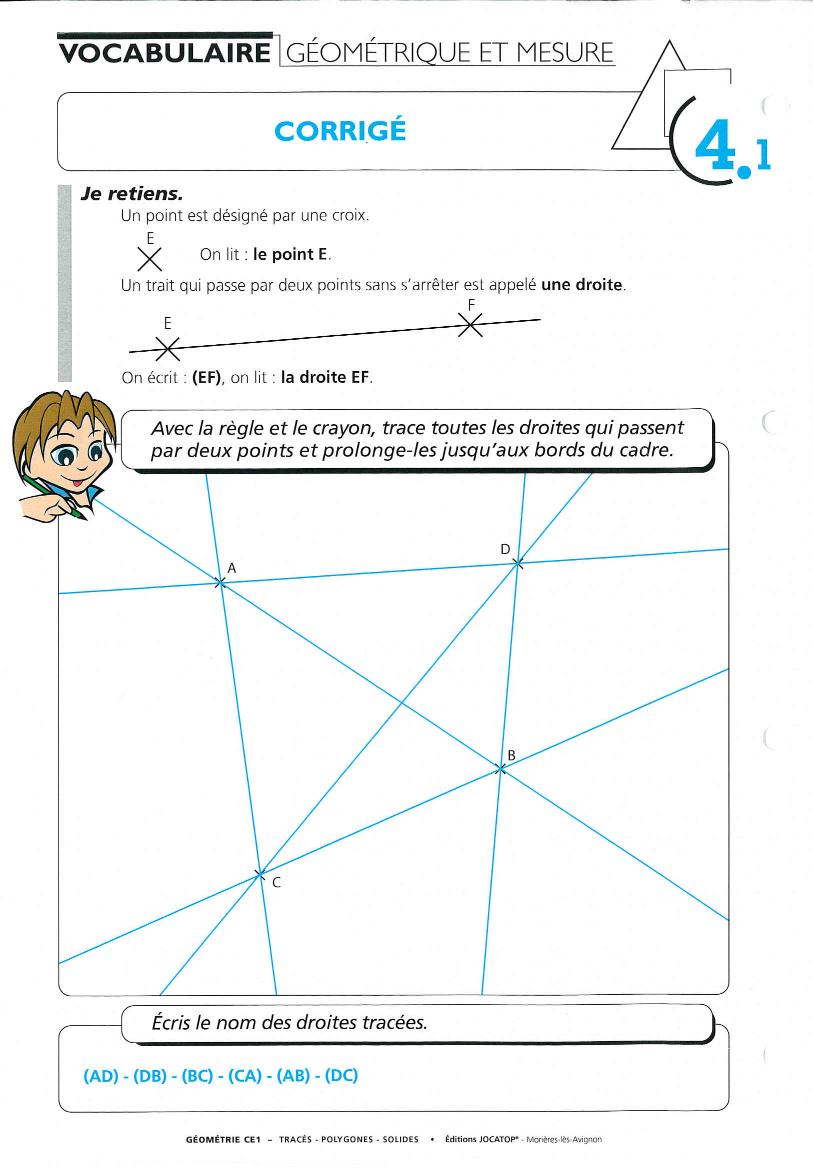 Géométrie Ce1 : Corrigés Des Fiches 3.5, 4.1, 4.6 Et 4.7 intérieur Fiche Géométrie Cp