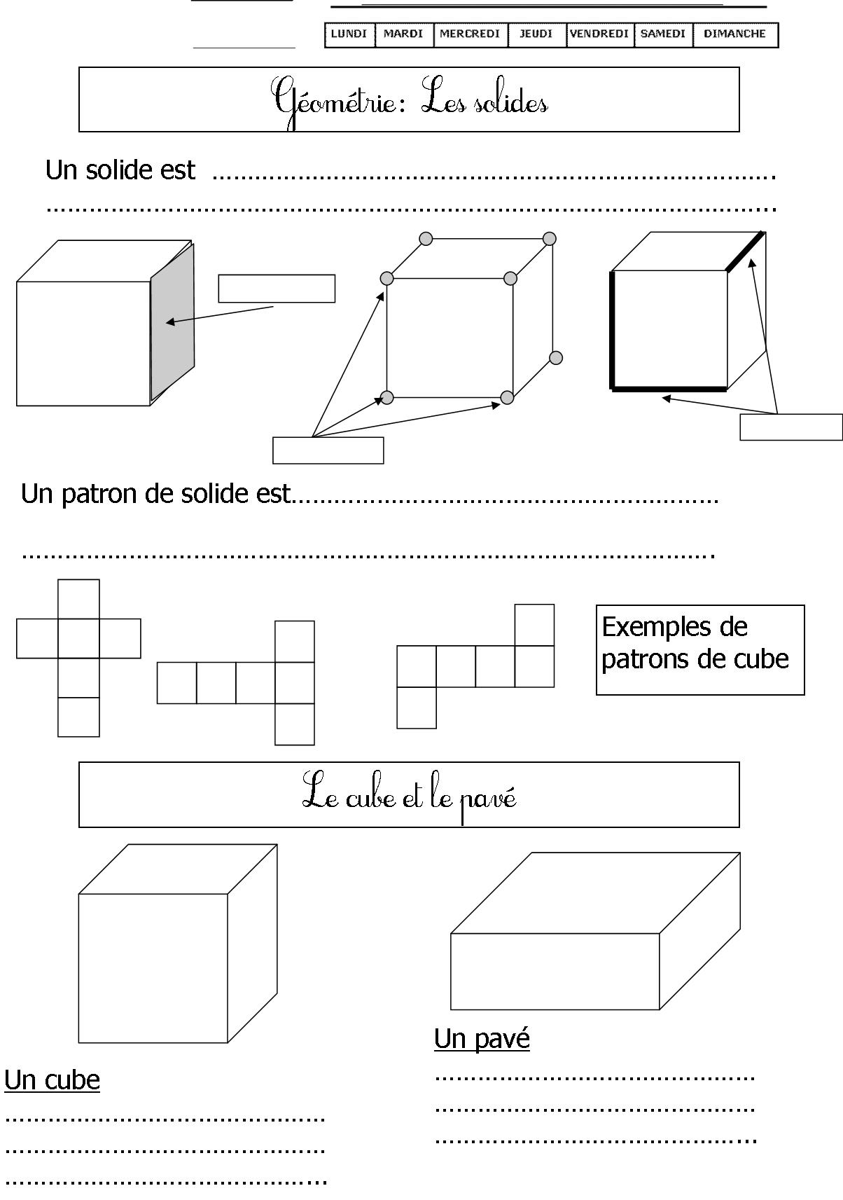 Géométrie | Le Blog De Monsieur Mathieu tout Fiche Géométrie Cp