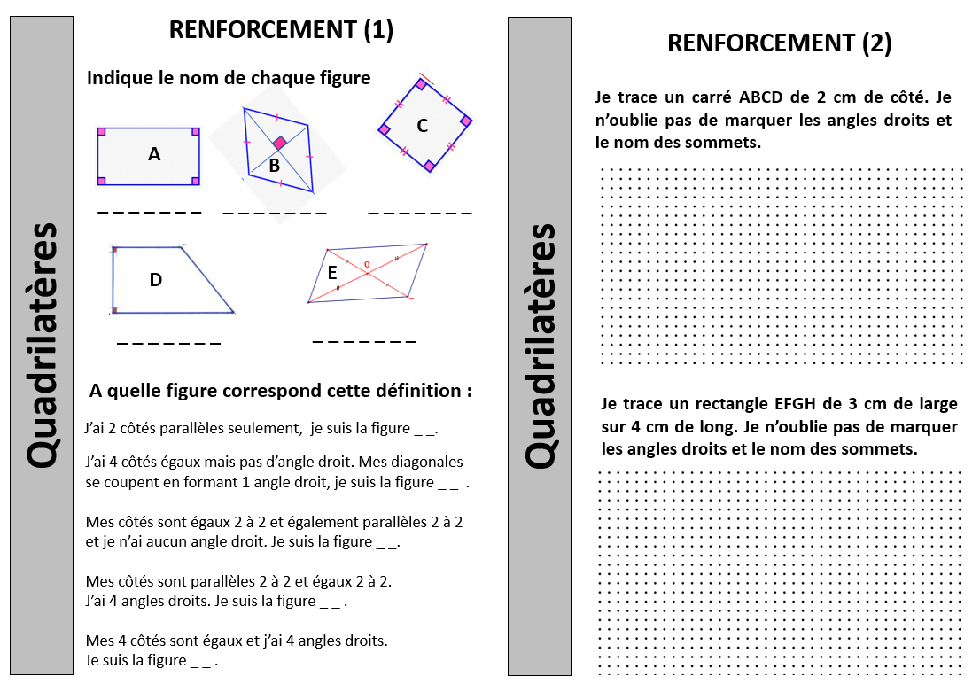 Géométrie - Renforcement Quadrilatères - Ce2 Cm1 - Journal D dedans Figures Géométriques Ce1