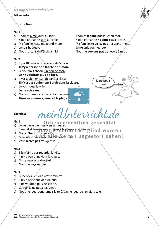 Grammatik Für Anfänger: La Négation- Die Verneinung destiné Ce Soir On Joue En Famille 3
