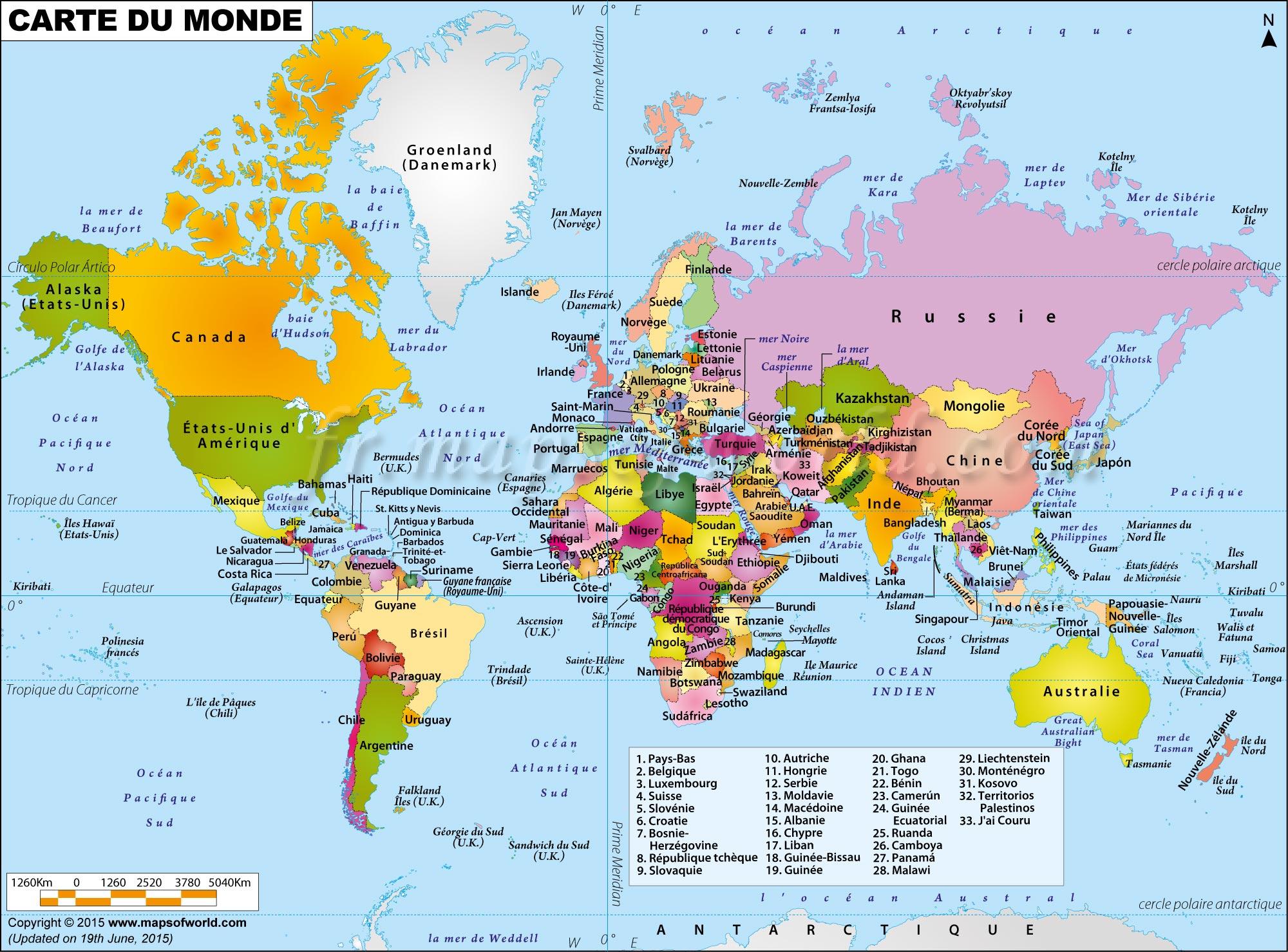 Grande Carte Du Monde pour Carte Europe Avec Capitales
