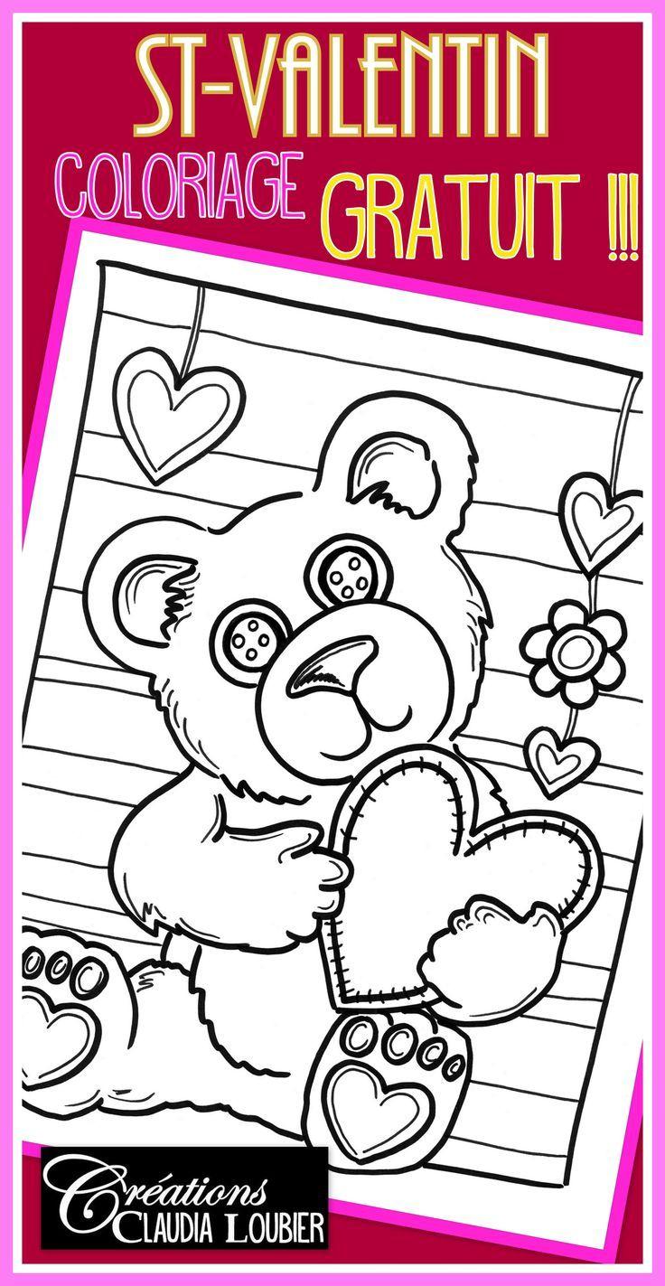 Gratuit: Coloriage St-Valentin : Ourson | Valentines Day encequiconcerne Coloriage De St Valentin