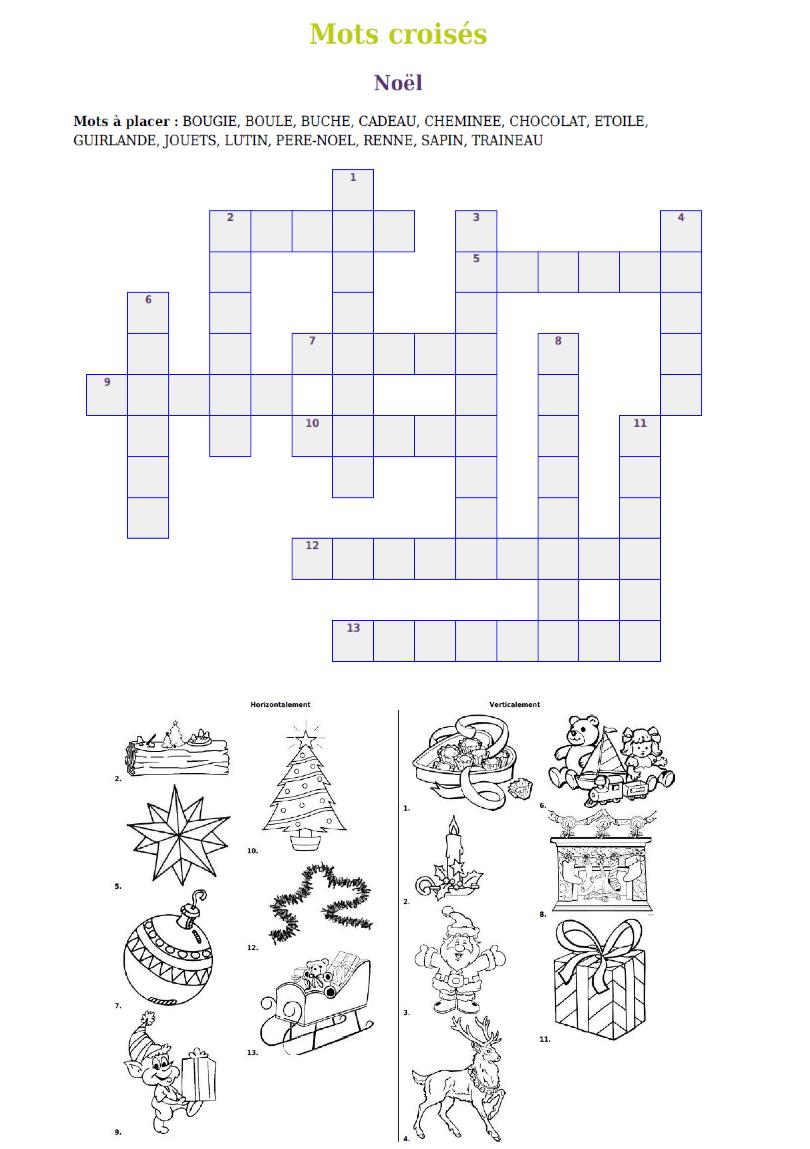 Gratuit- Mot-Croisé De Noël À Imprimer. | Jeux Noel, Mots à Mots Croisés Faciles À Imprimer