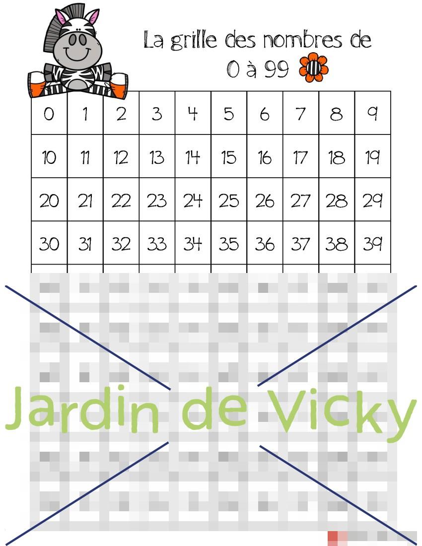 Grille De Nombres 0 À 99   Jardin De Vicky destiné Les Nombres De 0 À 20