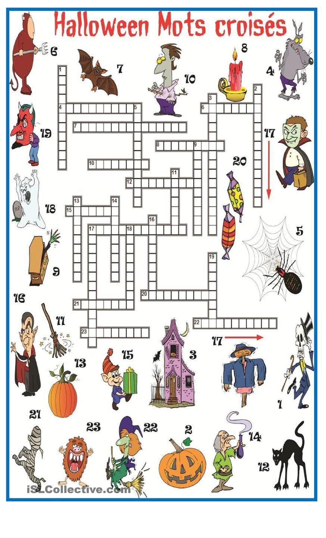 Halloween Mots Croisés | Jeux Halloween, Halloween Primaire encequiconcerne Jeux De Mots Pour Enfants