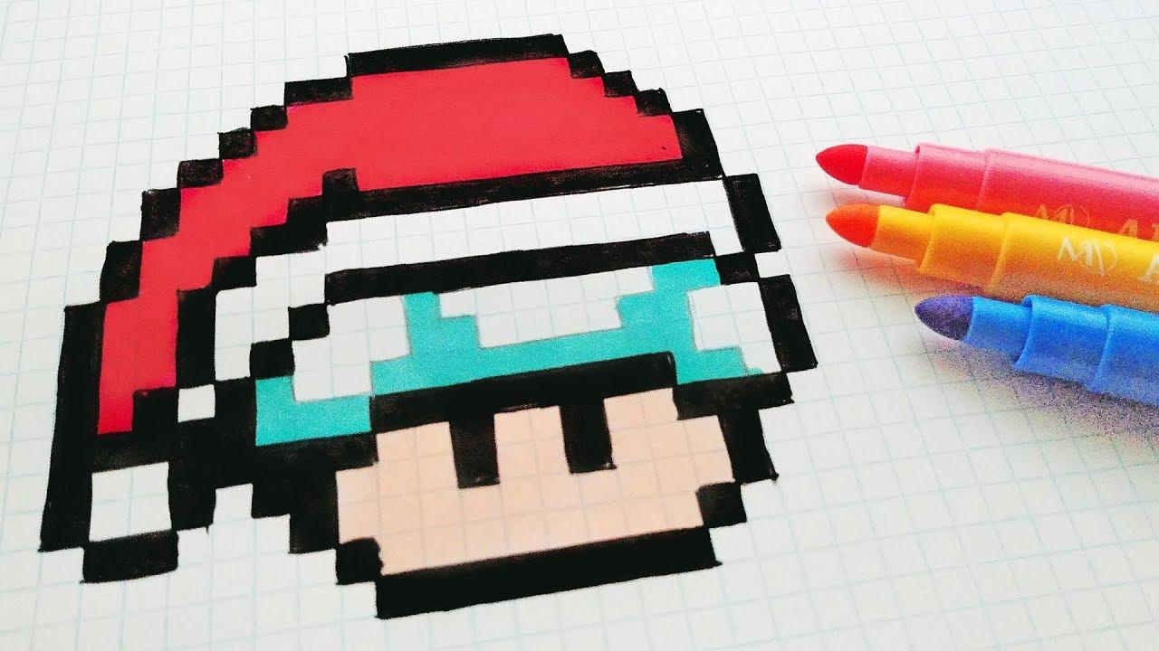 Handmade Pixel Art - How To Draw A Musroom Santa Claus #pixelart destiné Pixel Art Pere Noel