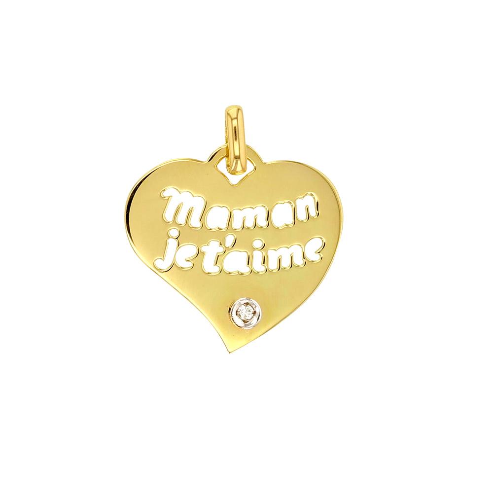 Herzanhänger Aus Gold 18 Kt. - Maman Je T'aime - Mit Diamant dedans Texte Maman Je T Aime