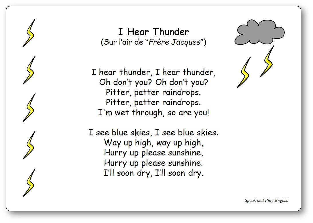 I Hear Thunder - Paroles De La Comptine En Anglais dedans Frere Jacques Anglais