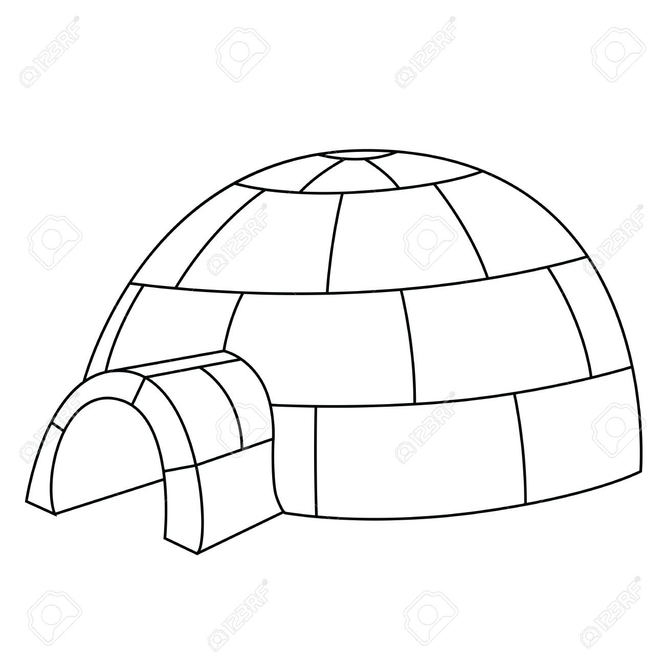 Igloo Clipart Outline intérieur Coloriage Igloo