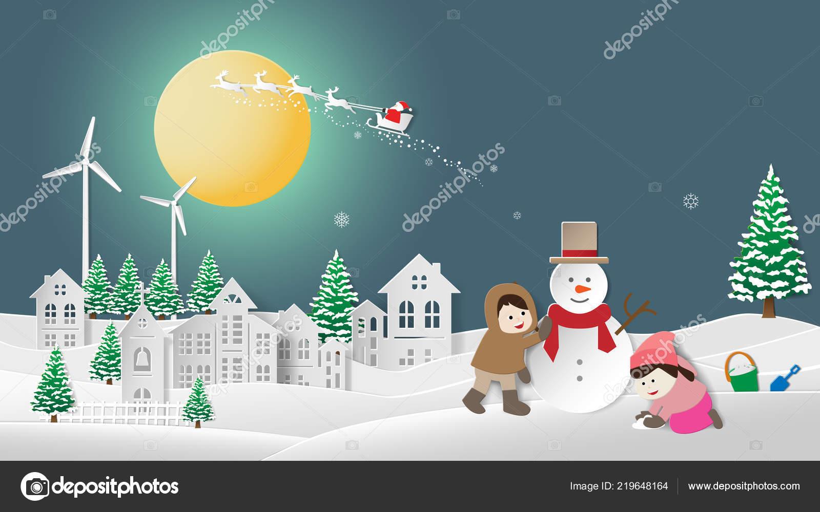 Illustration Vectorielle Art Style Origami Joyeux Noël Bonne concernant Origami Bonhomme De Neige