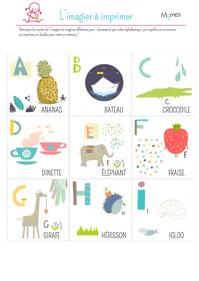 Imagier À Imprimer - Momes pour Jeux De Lettres Enfants