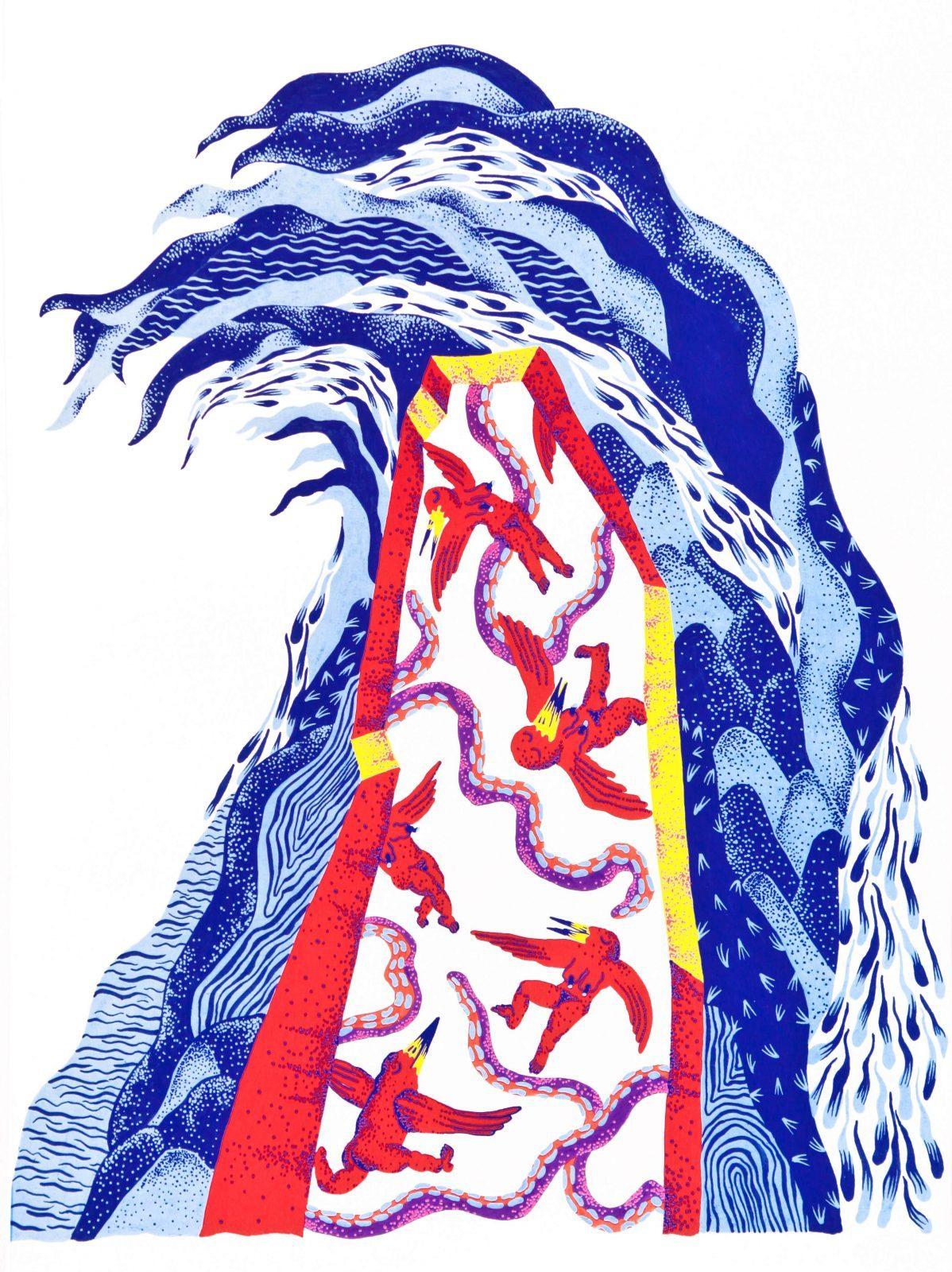 Immersion Dans Les Mondes Mystérieux De L'illustratrice Laho tout Dessin De Vague A Imprimer