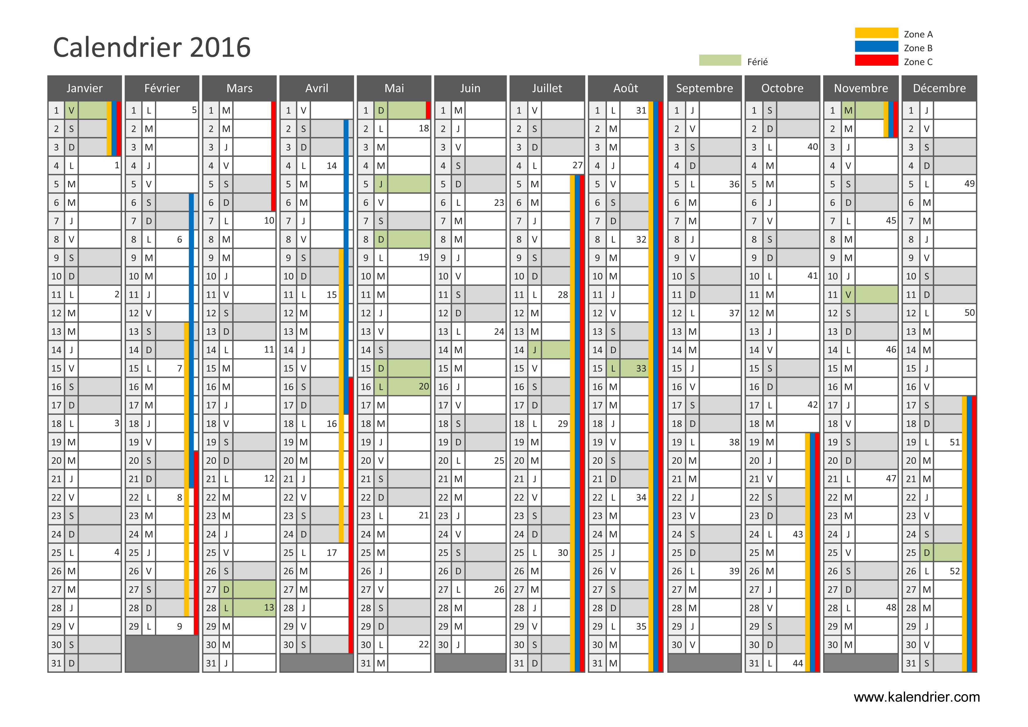 Imprimer Calendrier 2016 Gratuitement - Pdf, Xls Et Jpg intérieur Calendrier 2019 Avec Jours Fériés Vacances Scolaires À Imprimer
