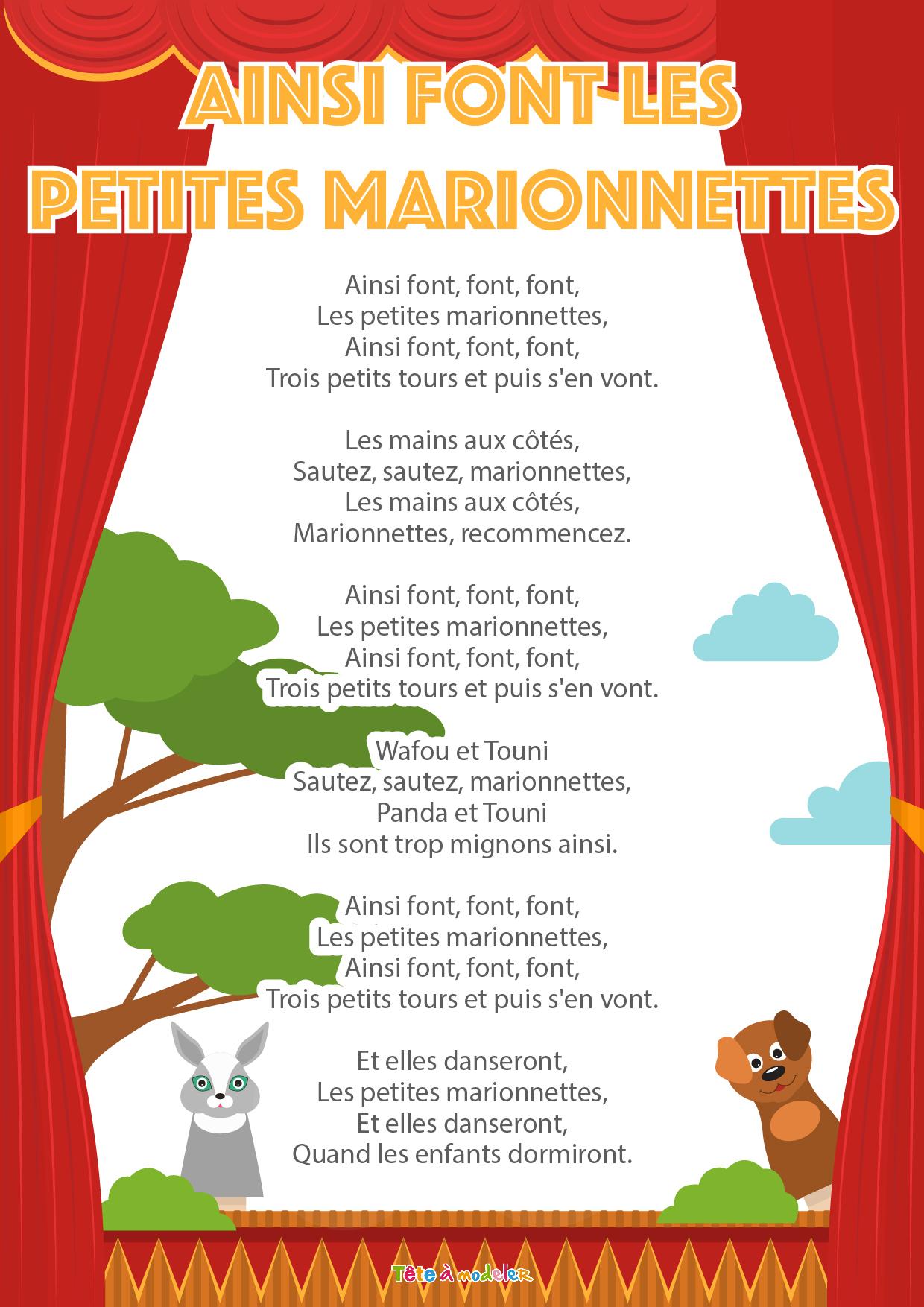 """Imprimer La Chanson """"ainsi Font Les Petites Marionnettes intérieur Les Petites Marionnettes Chanson"""