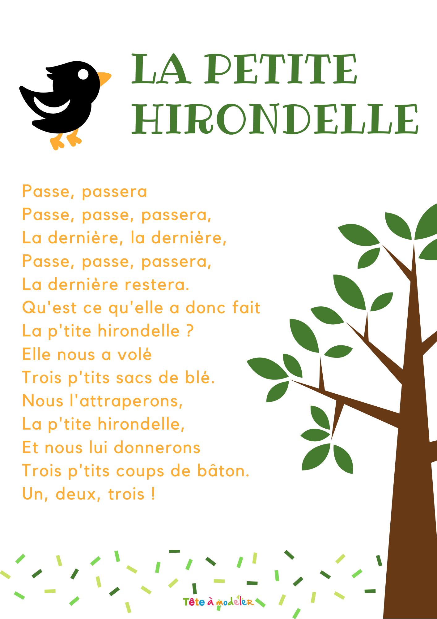 Imprimer La Chanson La Petite Hirondelle - Chanson Enfant avec Chanson A Imprimer