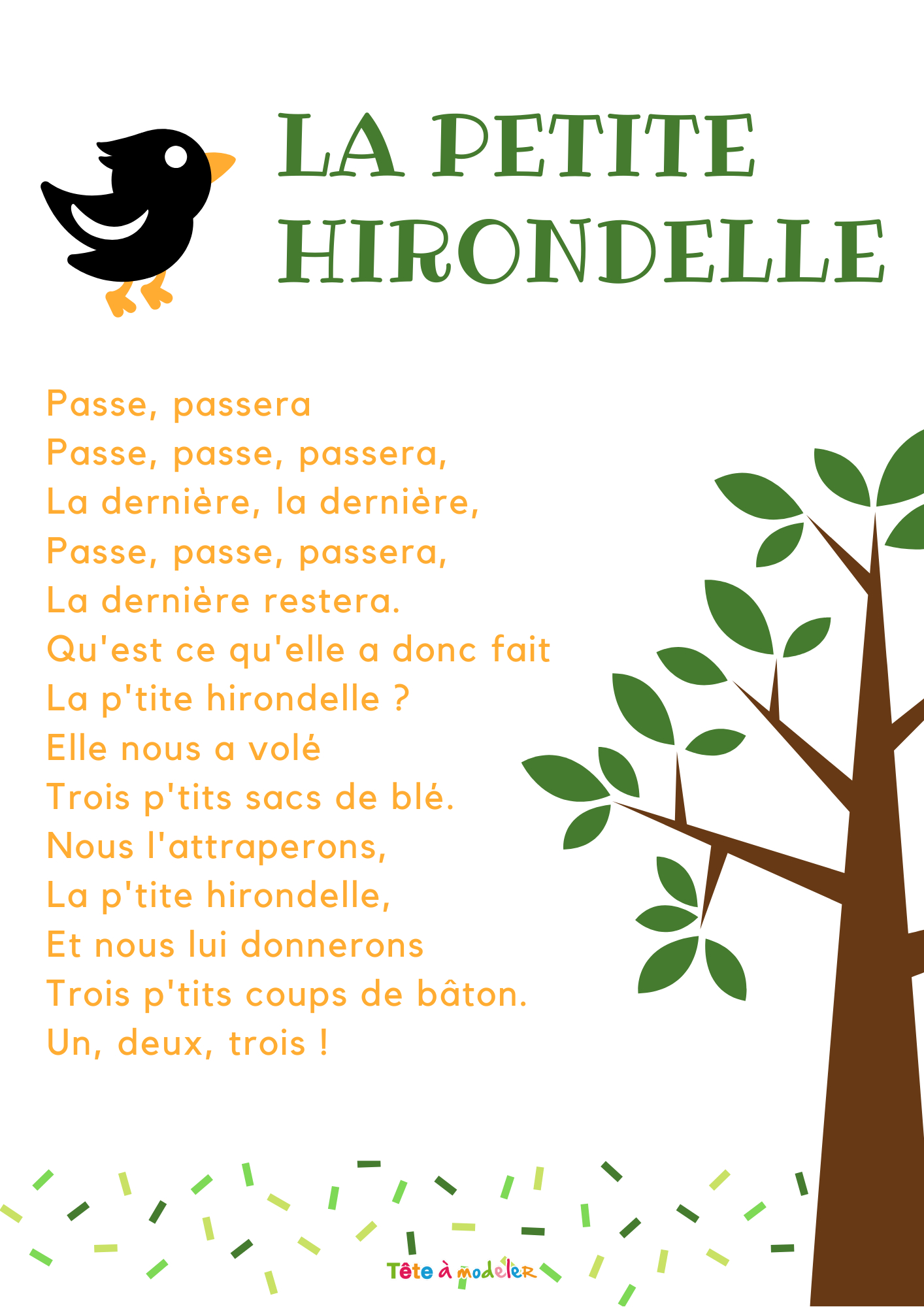 Imprimer La Chanson La Petite Hirondelle - Chanson Enfant dedans Petit Moulin Chanson
